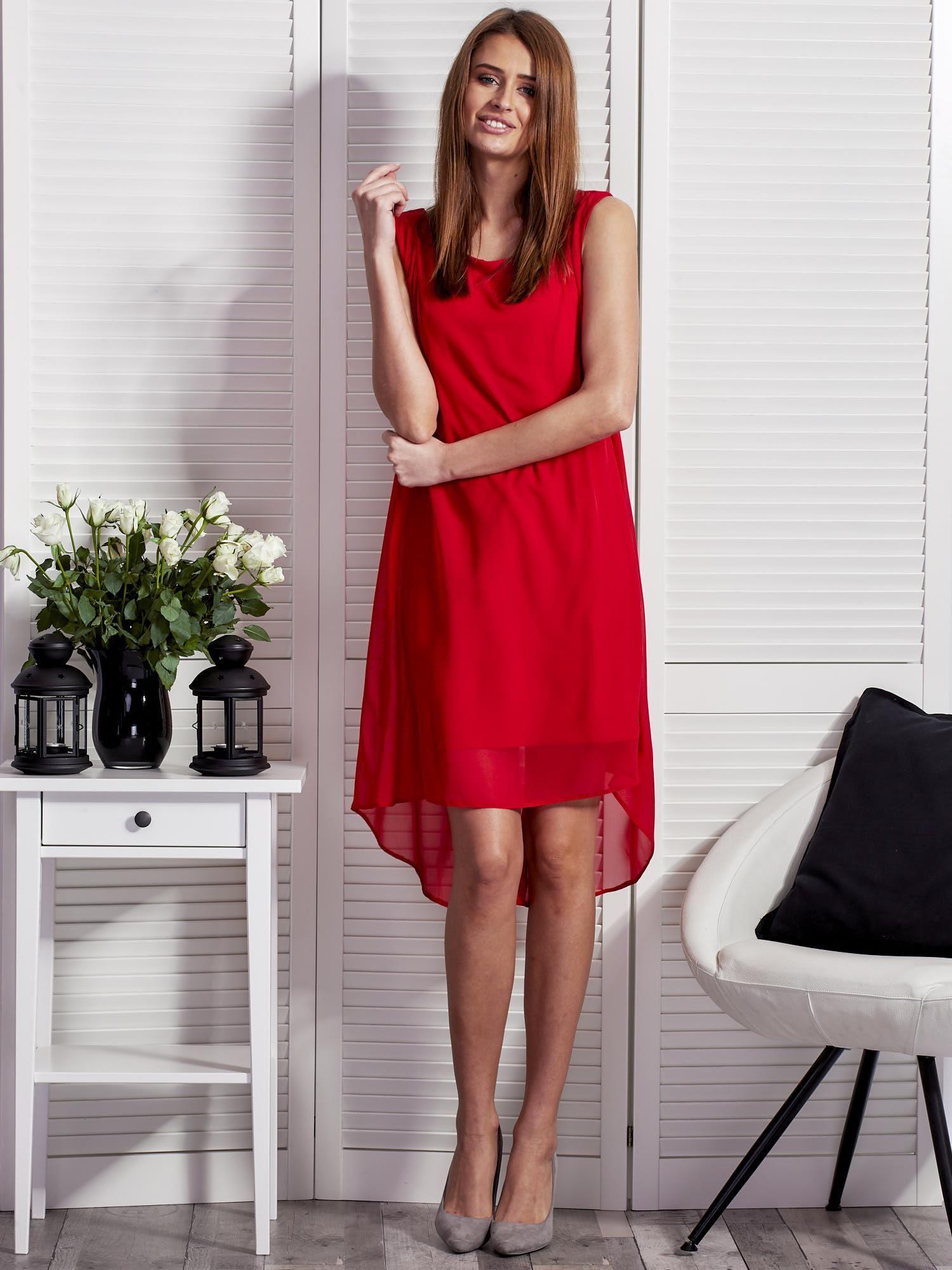 d9906b4932 Czerwona sukienka z ozdobnym paskiem - Sukienka koktajlowa - sklep ...