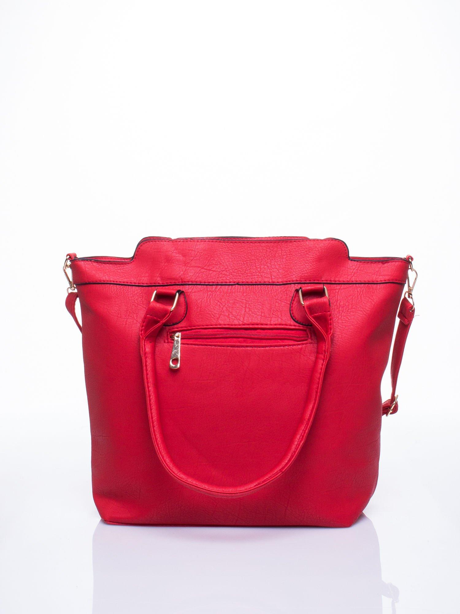 Czerwona torba miejska z odpinanym paskiem                                  zdj.                                  3