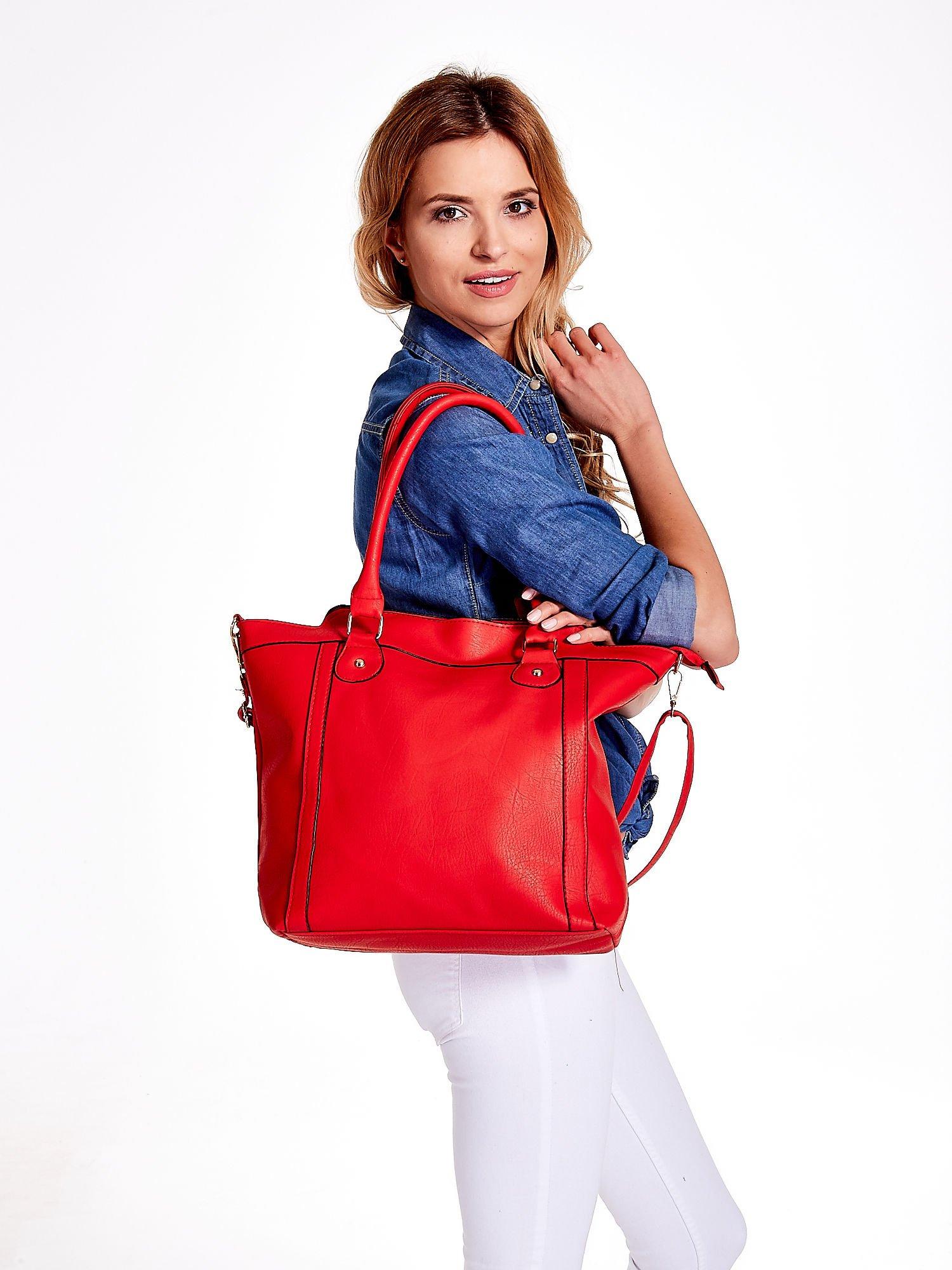 Czerwona torba miejska z odpinanym paskiem                                  zdj.                                  6