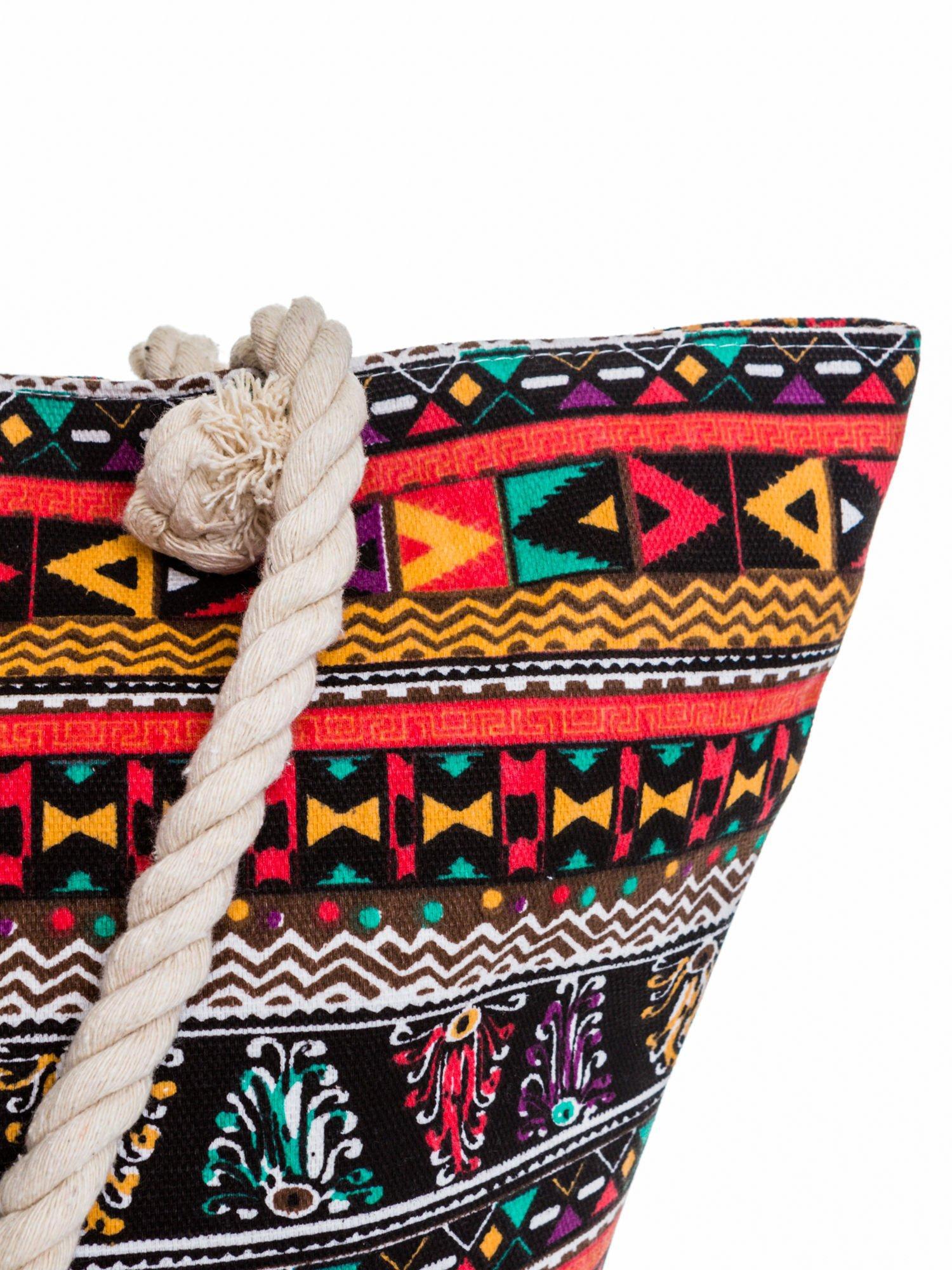 Czerwona torba plażowa w azteckie wzory                                  zdj.                                  6
