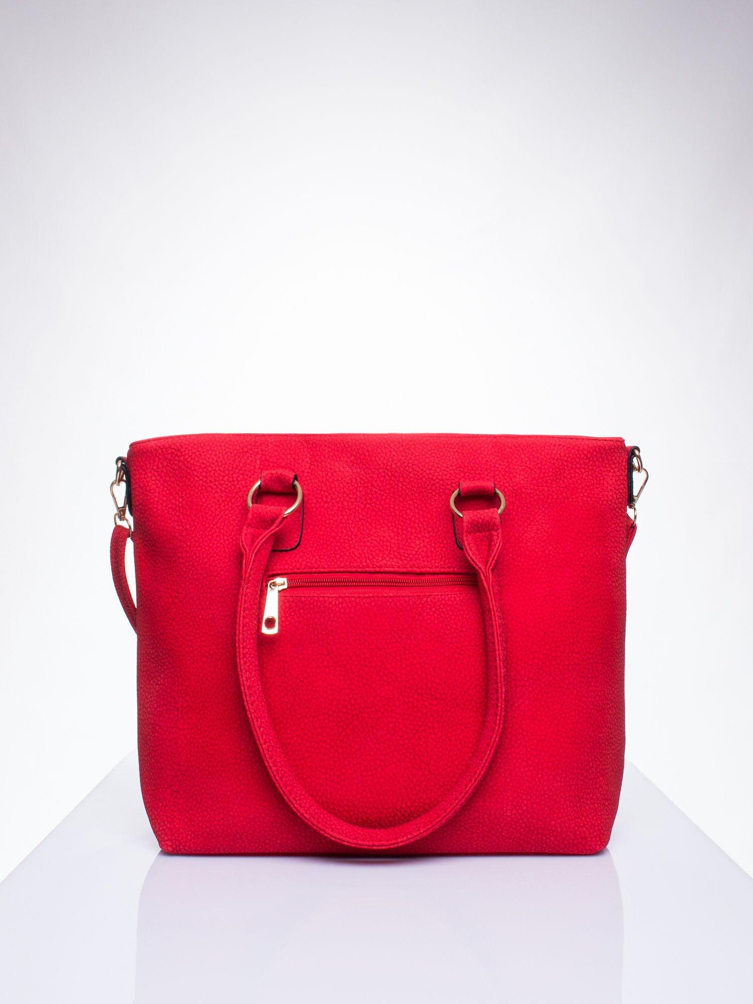 Czerwona torba shopper bag z suwakiem                                  zdj.                                  3