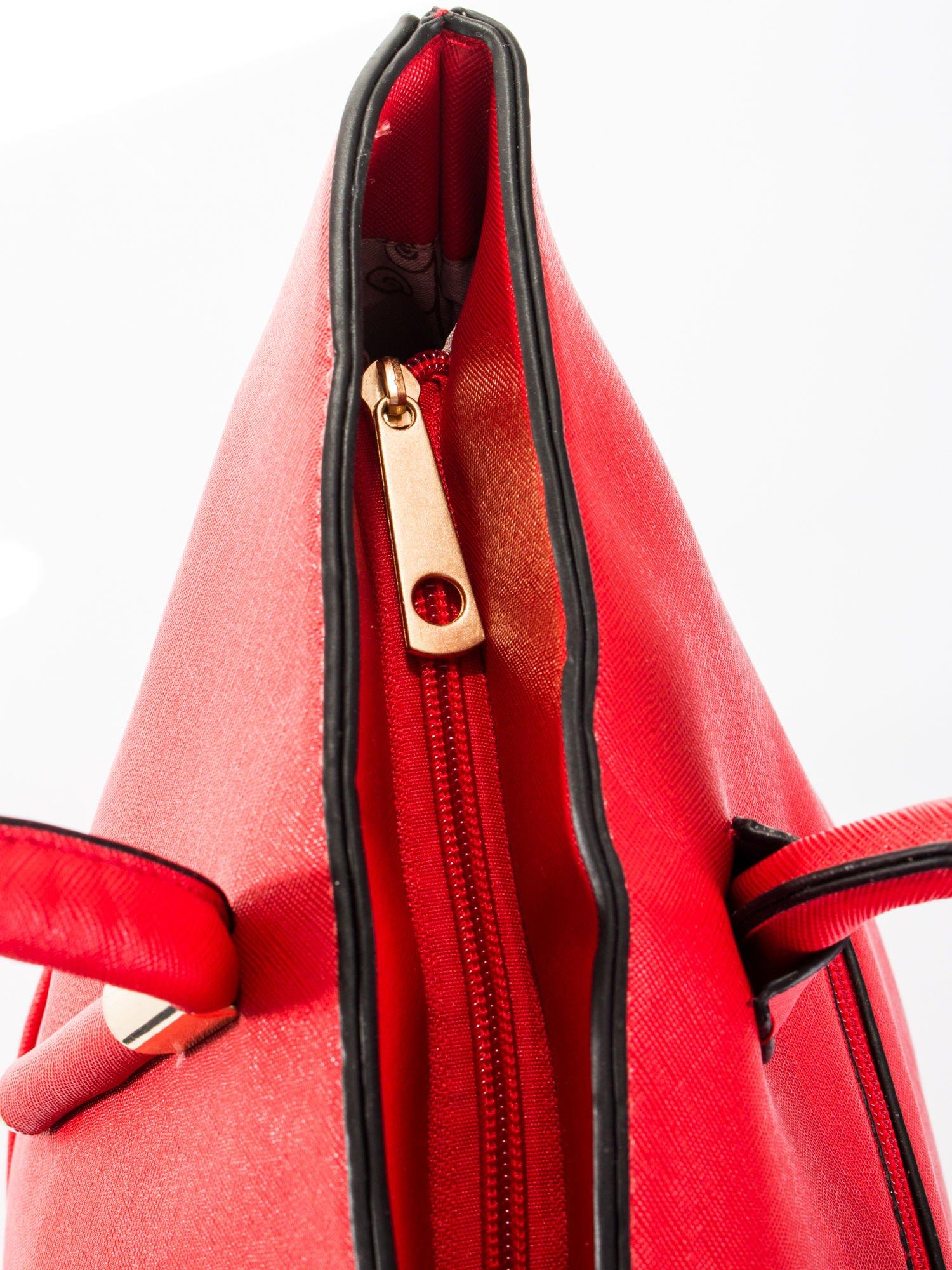 Czerwona torba shopper efekt saffiano                                  zdj.                                  7