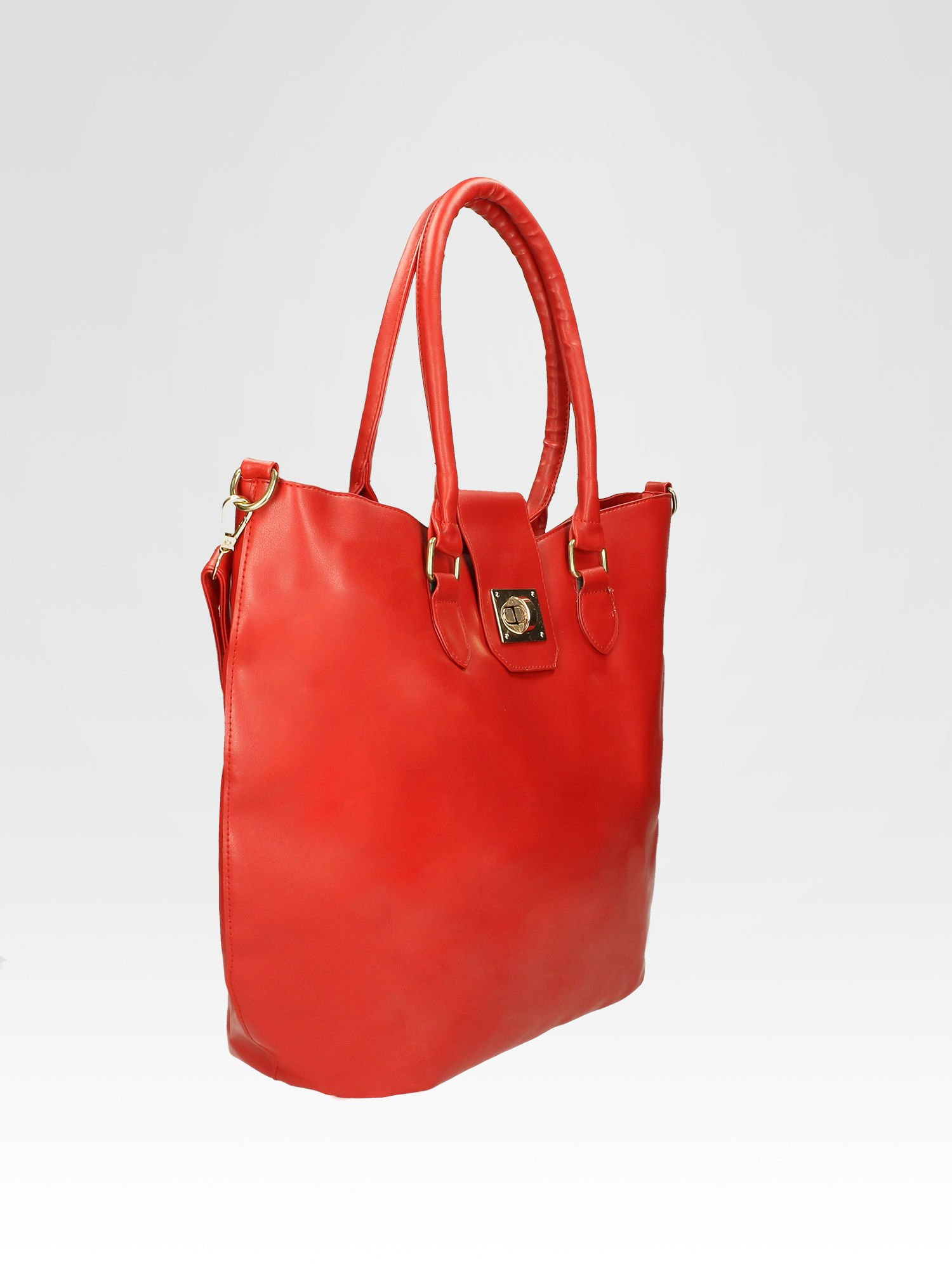 Czerwona torebka city bag z zatrzaskiem                                  zdj.                                  7