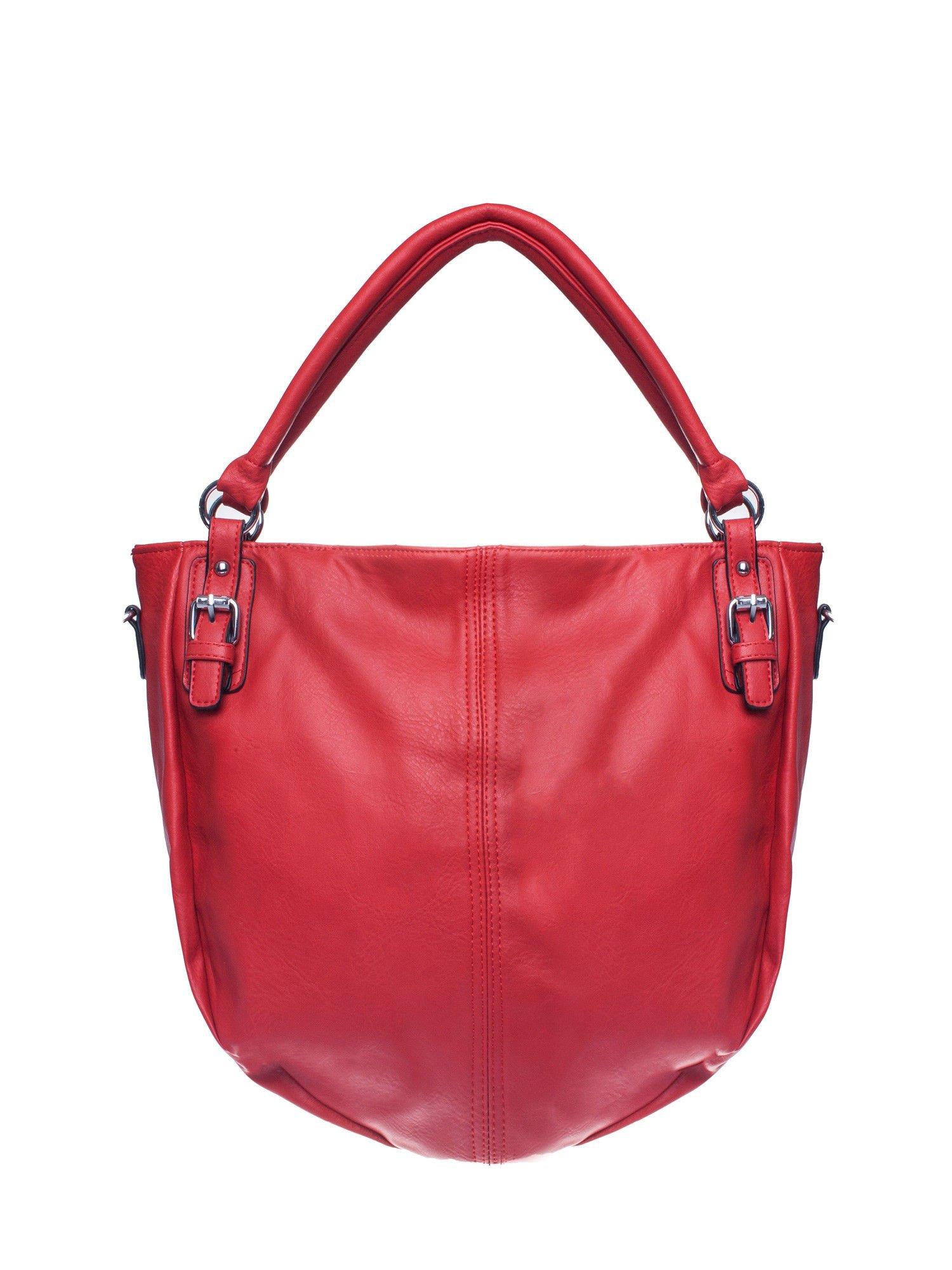 Czerwona torebka miejska z odpinanym paskiem                                  zdj.                                  1
