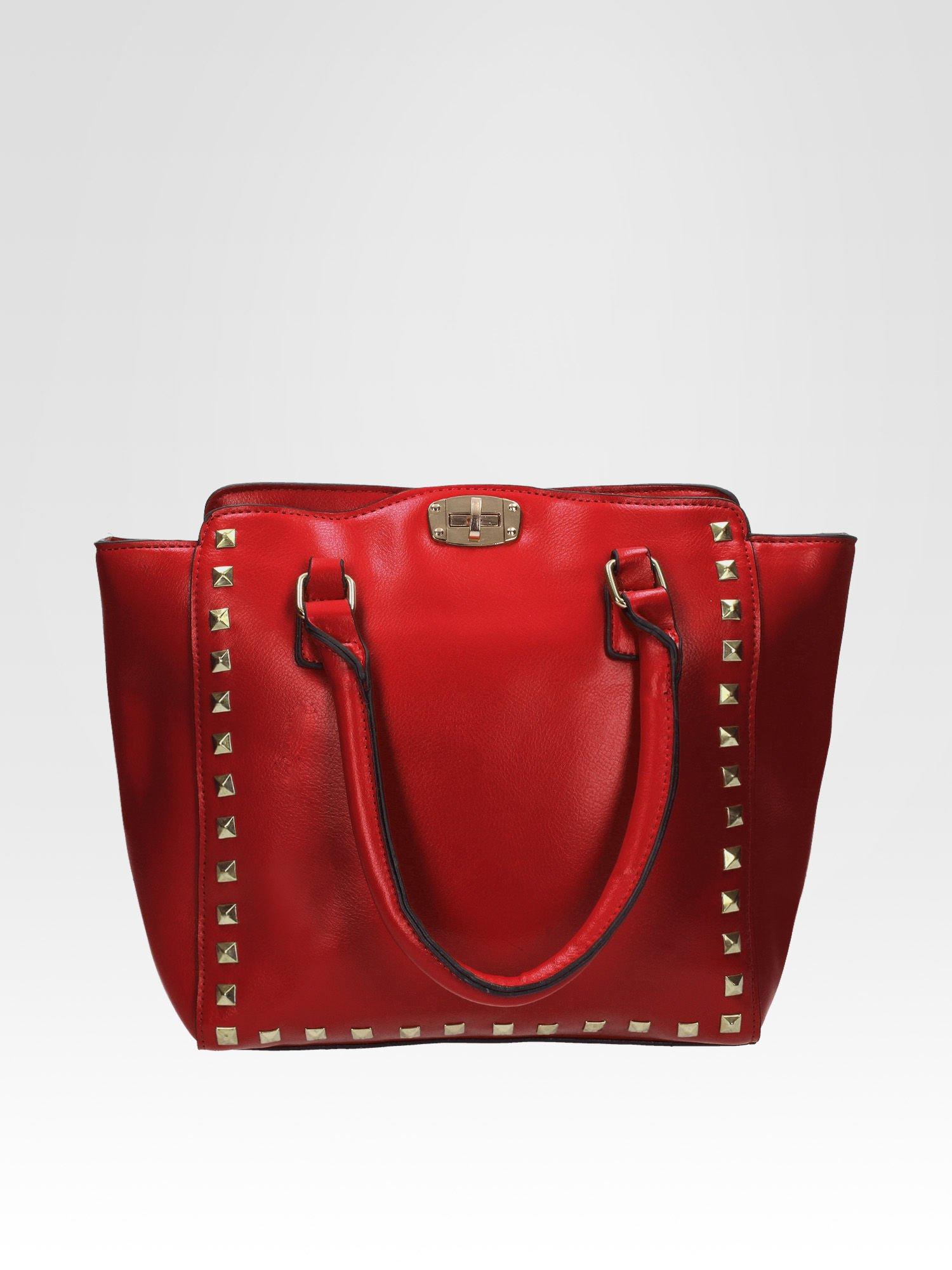 Czerwona torebka na ramię z dżetami                                  zdj.                                  1