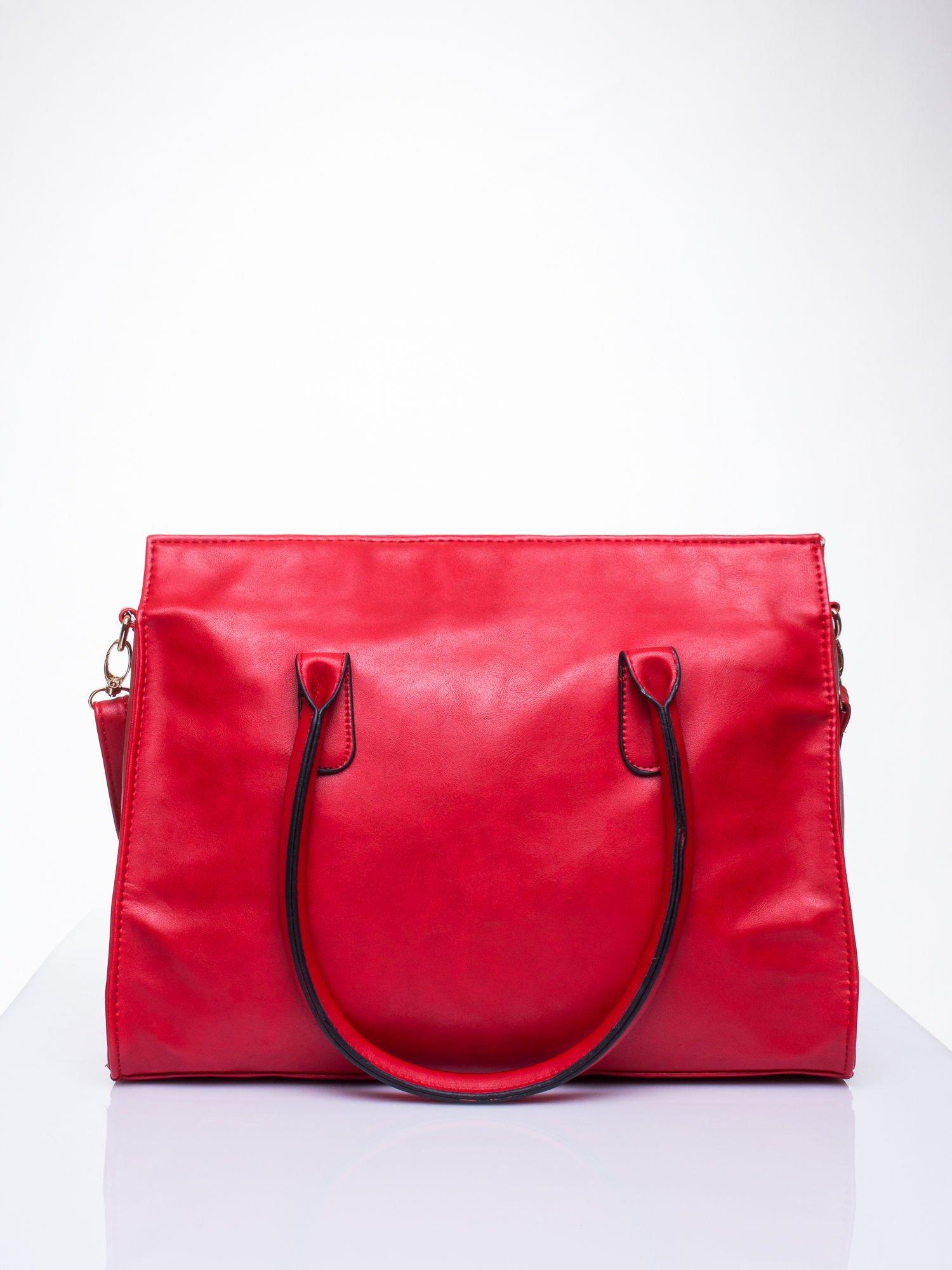 Czerwona torebka teczka z klapką                                  zdj.                                  4