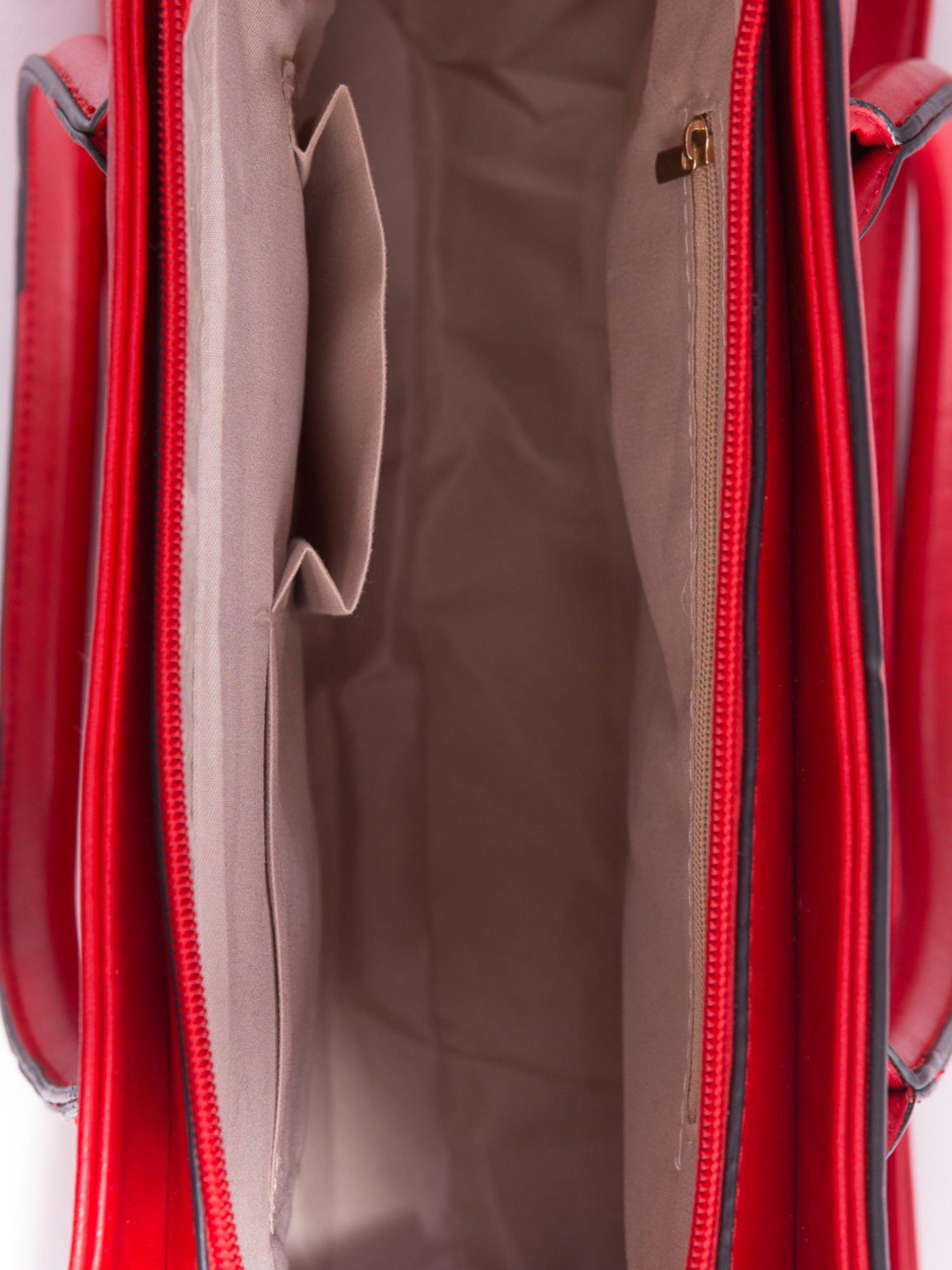 Czerwona torebka teczka z klapką                                  zdj.                                  5
