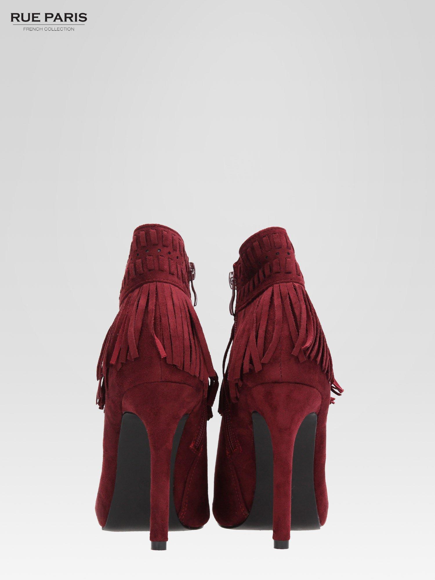Czerwone botki faux suede Suzie open toe z frędzlami w stylu boho                                  zdj.                                  4
