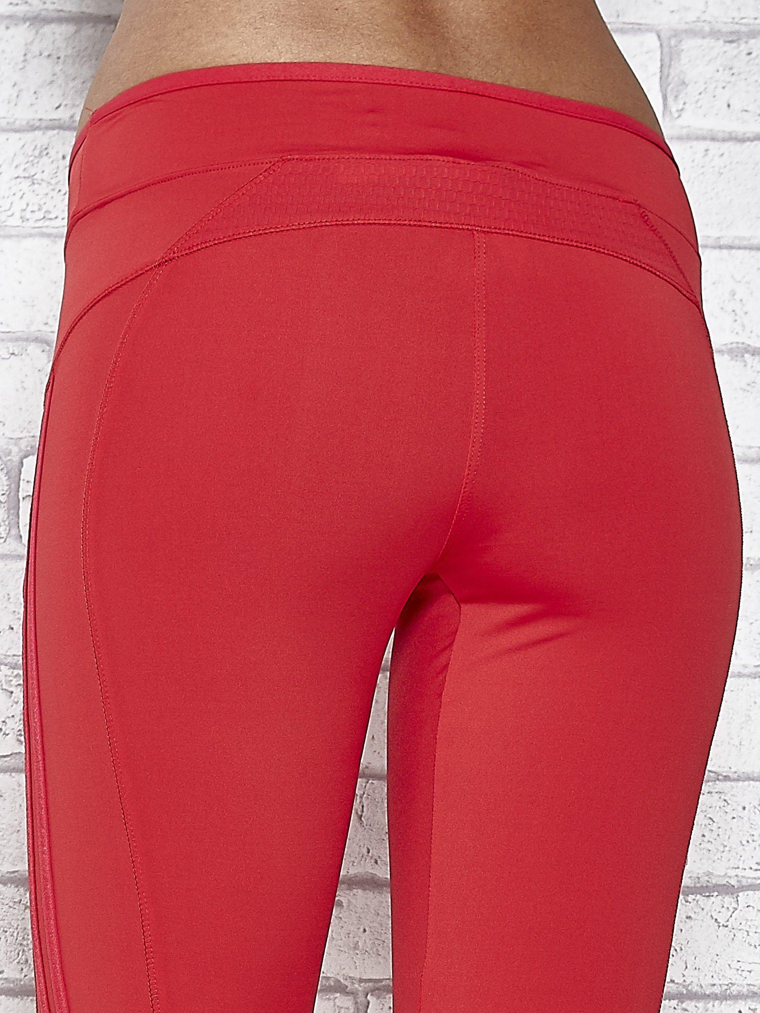 Czerwone legginsy 3/4 sportowe termalne z lampasami                                  zdj.                                  6