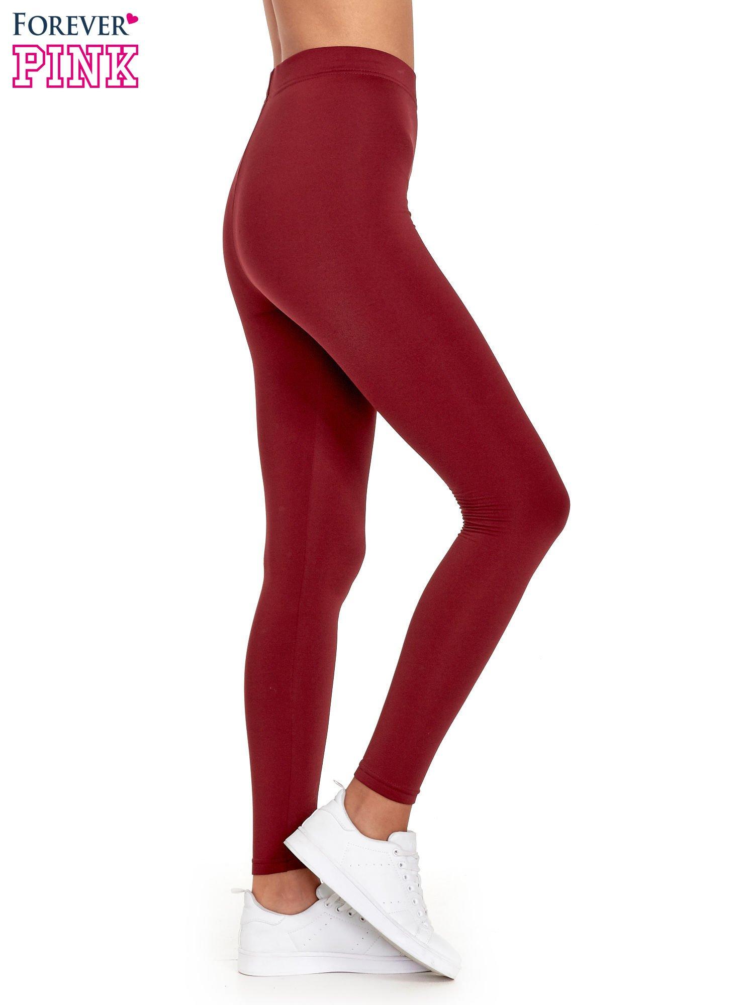Czerwone legginsy basic z lekkim ociepleniem                                  zdj.                                  3