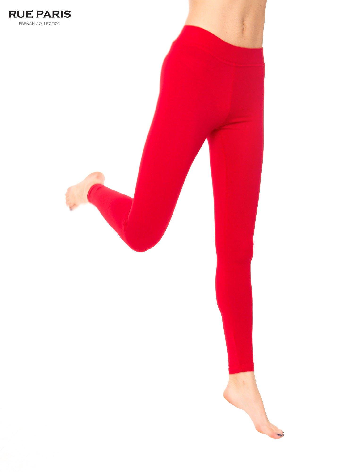 Czerwone legginsy bawełniane z gumką w pasie                                  zdj.                                  1