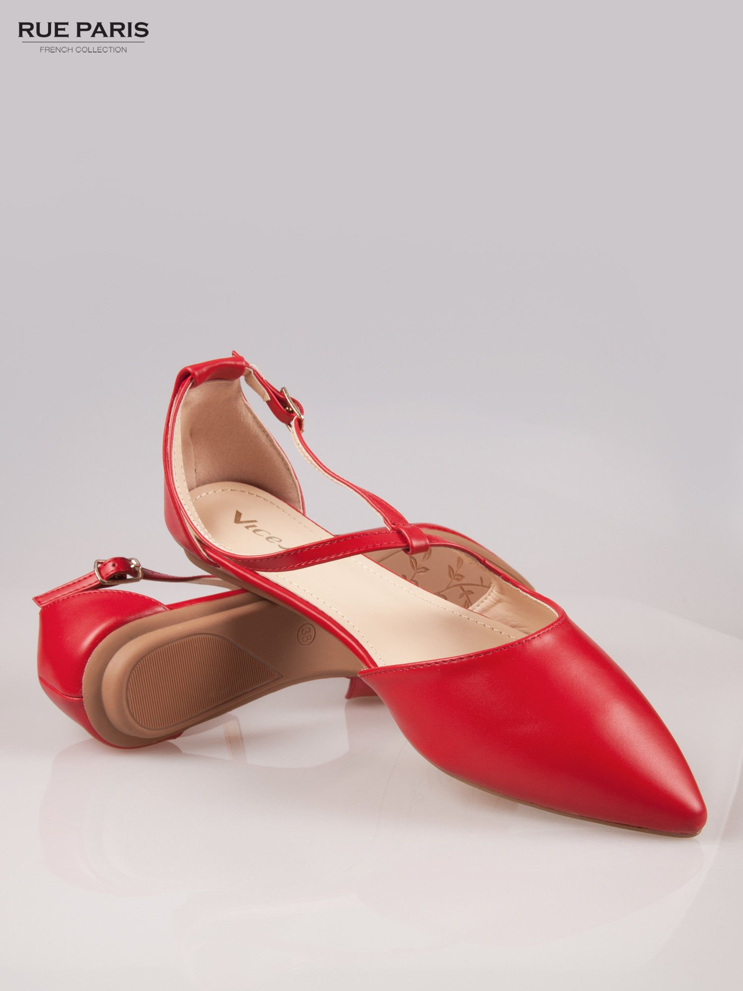 Czerwone odkryte baleriny wiązane w kostce                                  zdj.                                  4