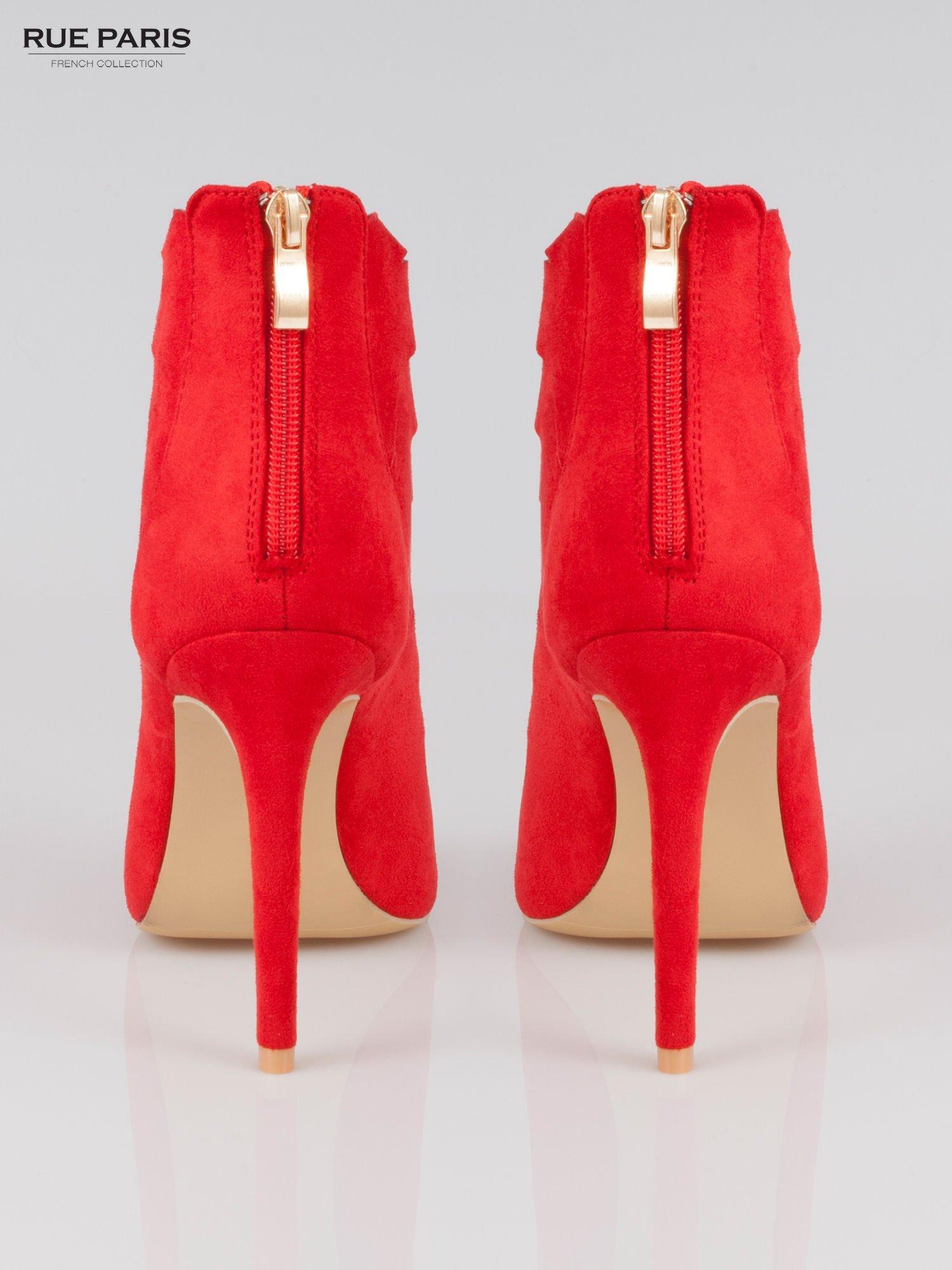 Czerwone sznurowane botki lace up z zamkiem                                  zdj.                                  3