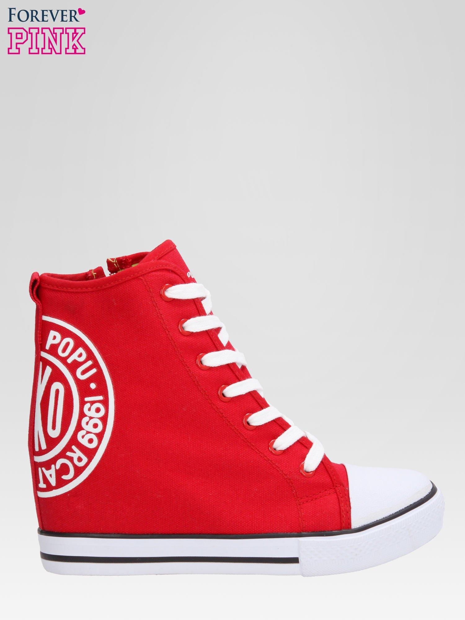 Czerwone trampki na koturnie sneakersy z logo                                  zdj.                                  1