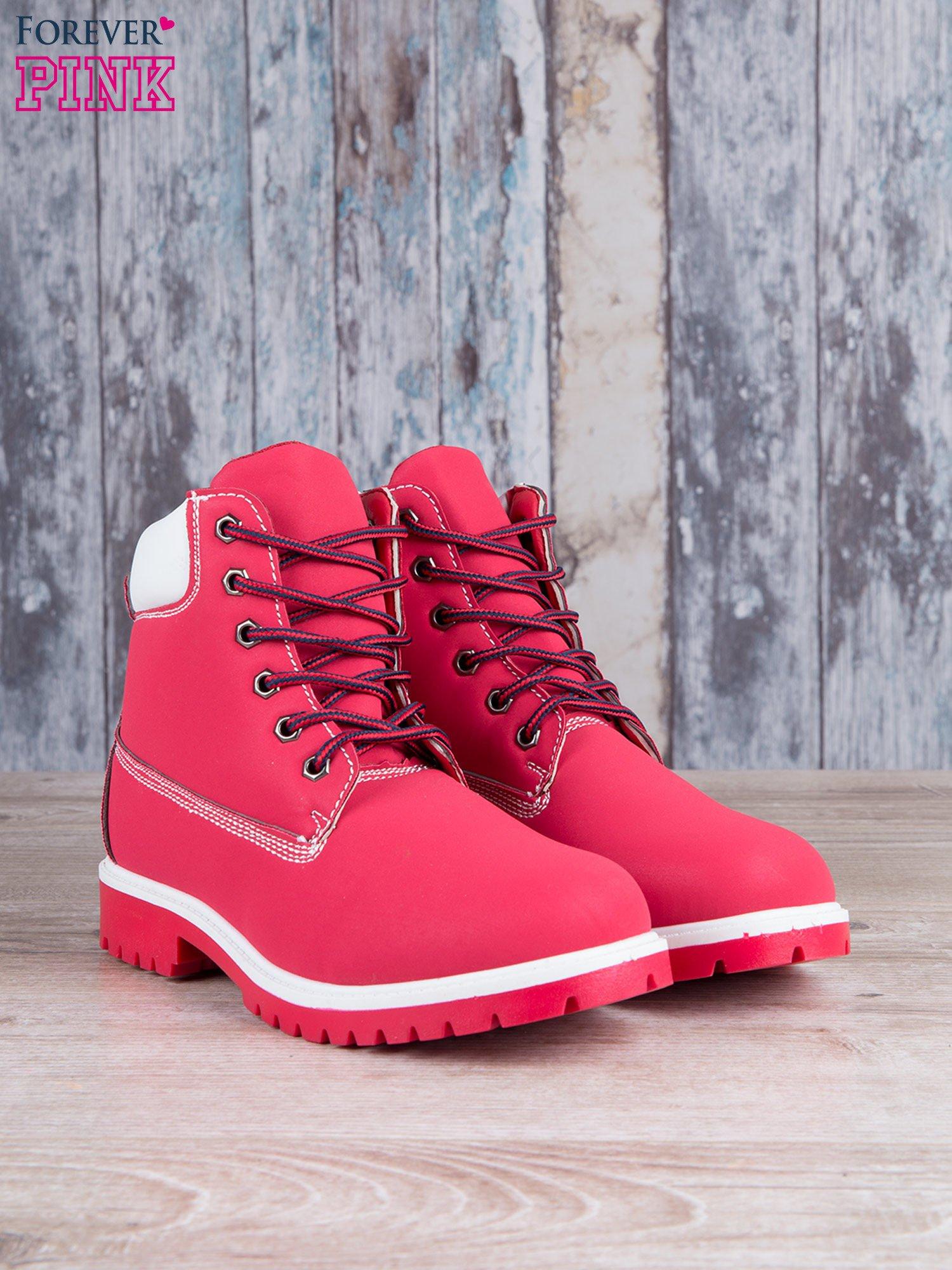 Czerwono-białe buty trekkingowe damskie traperki ocieplane                                   zdj.                                  2