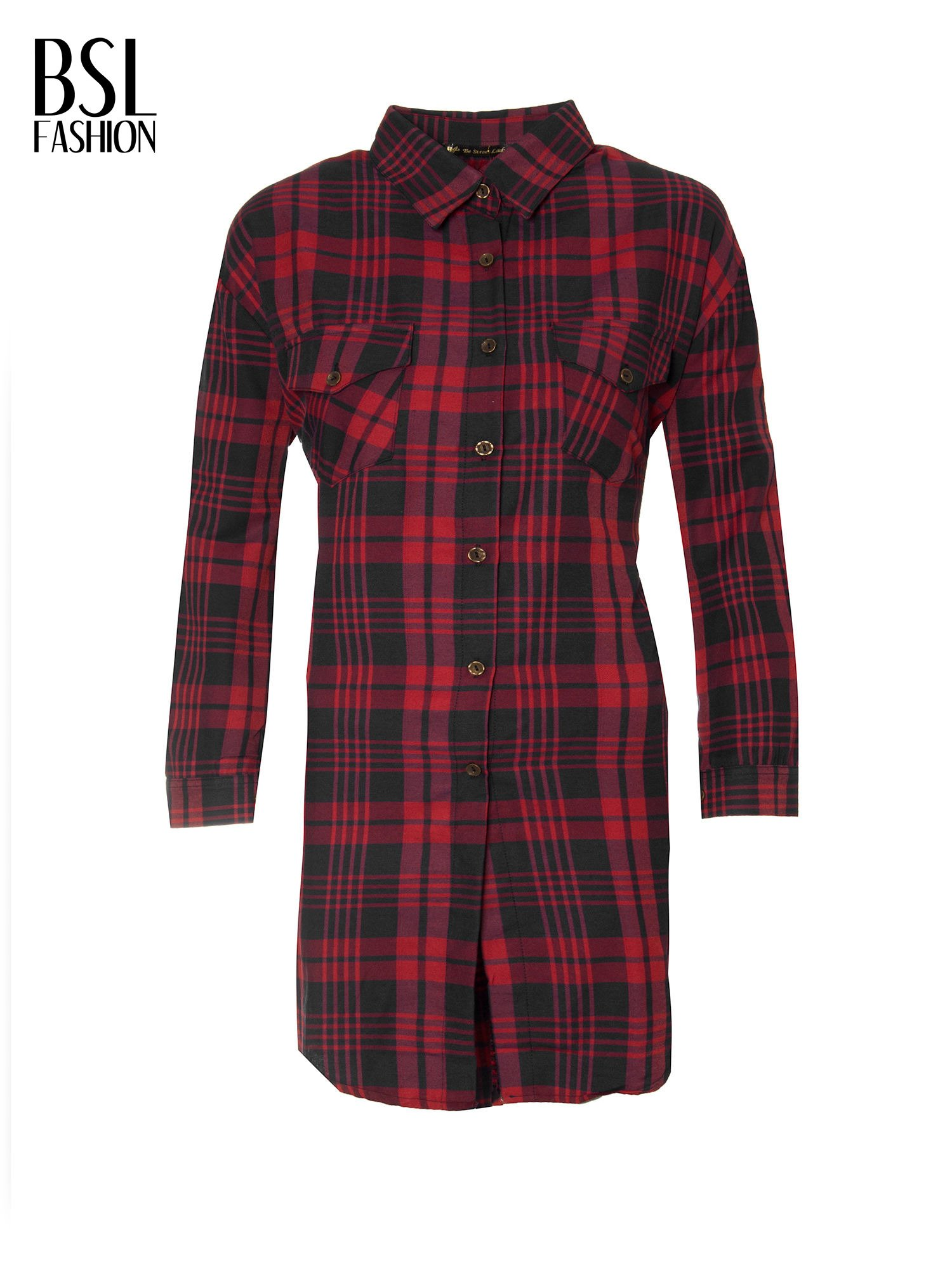 Czerwono-czarna długa koszula w kratę z kieszeniami                                  zdj.                                  2