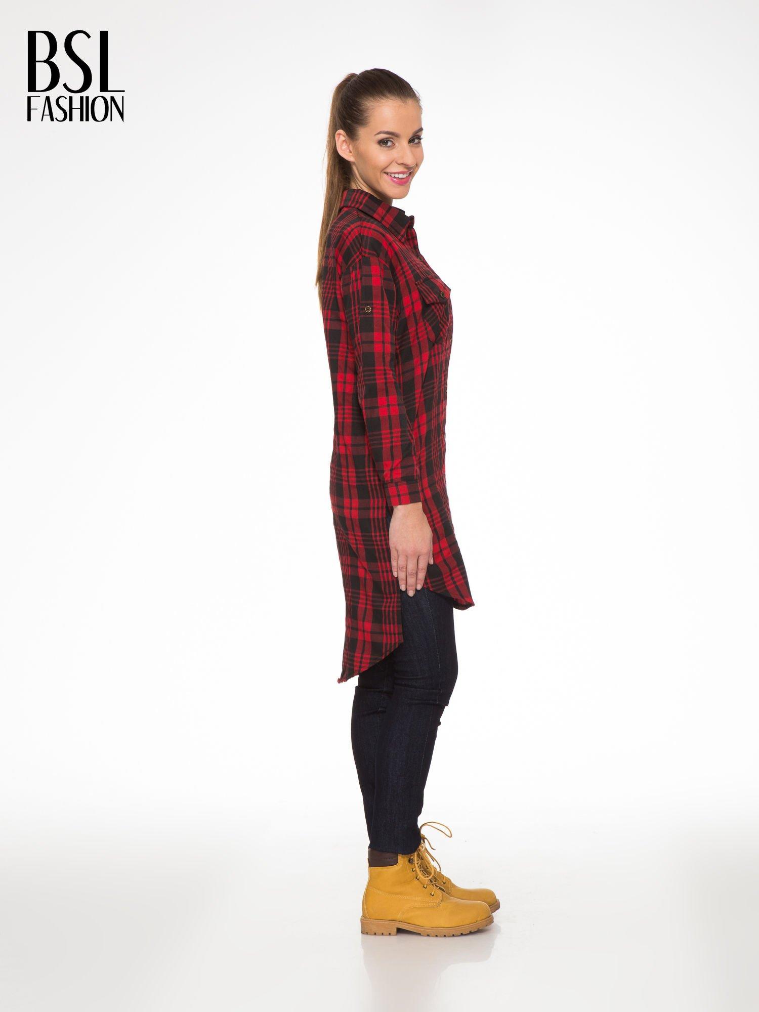 Czerwono-czarna długa koszula w kratę z kieszeniami                                  zdj.                                  3