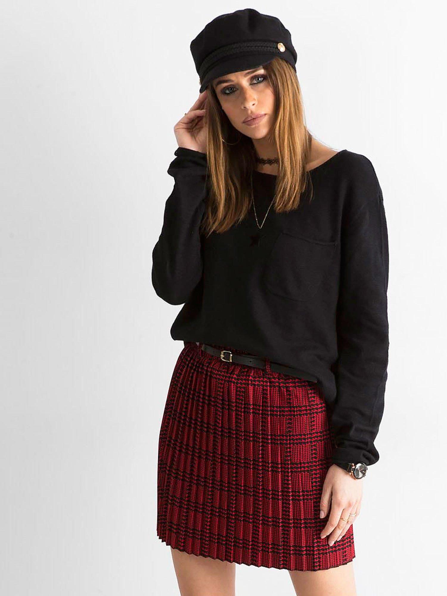 Czerwono czarna plisowana spódnica we wzory Spódnica