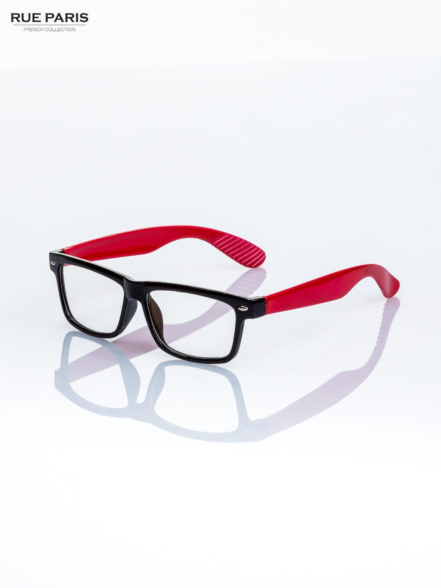 Czerwono-czarne okulary zerówki kujonki typu WAYFARER NERDY                                  zdj.                                  1