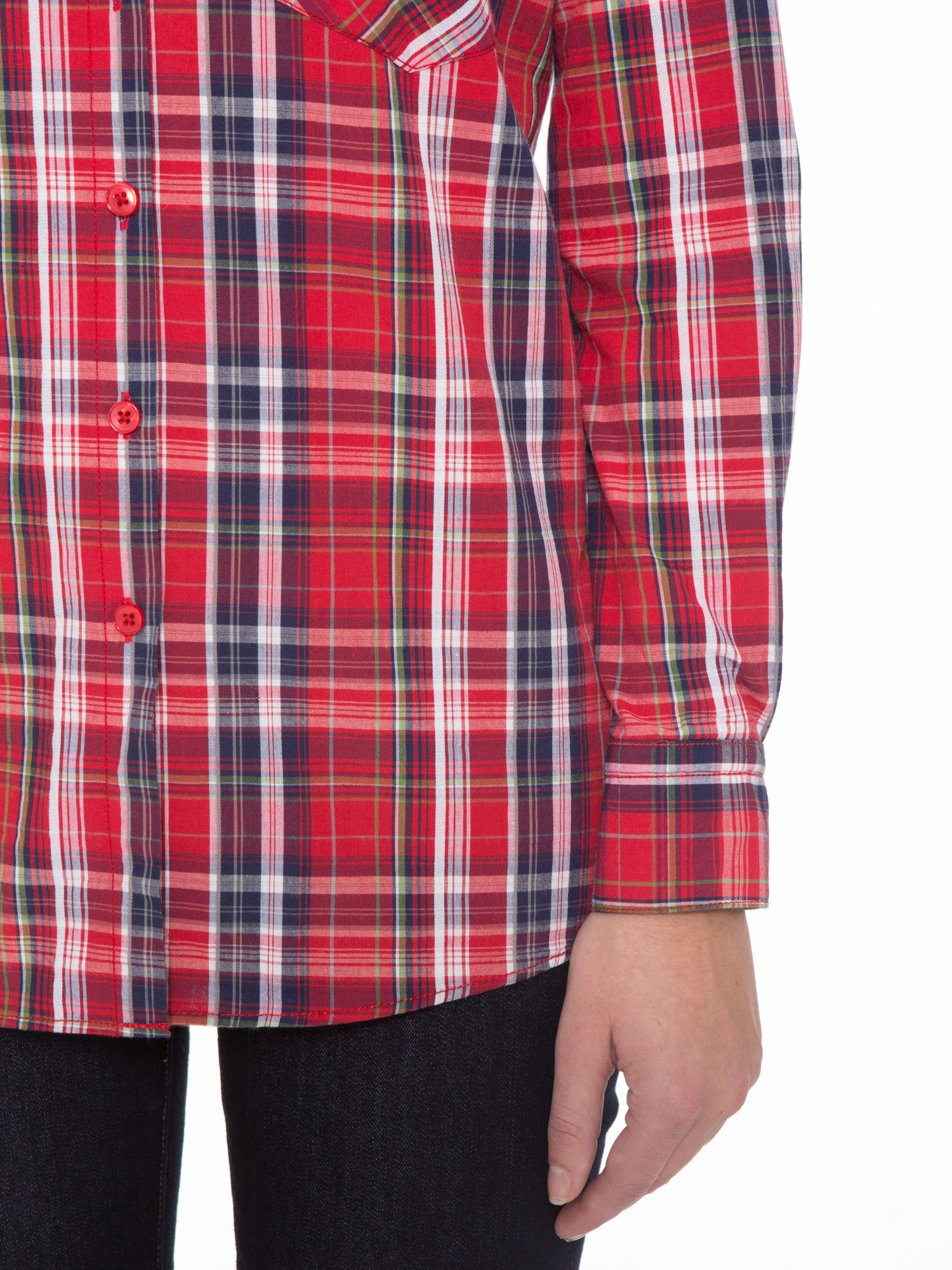 Czerwono-granatowa klasyczna koszula w kratkę z kieszeniami                                  zdj.                                  8