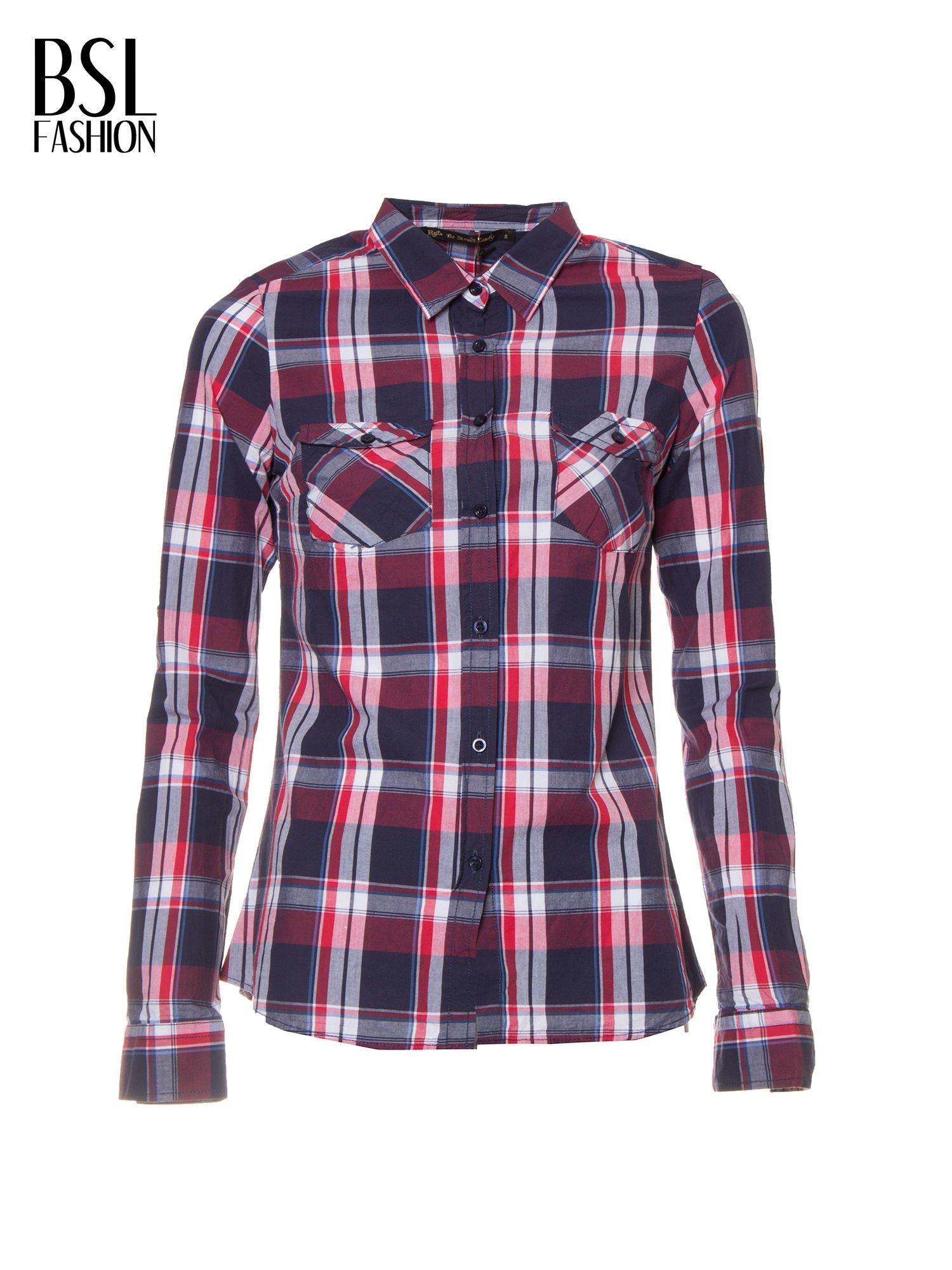 Czerwono-granatowa koszula w kratę z kieszeniami                                  zdj.                                  2