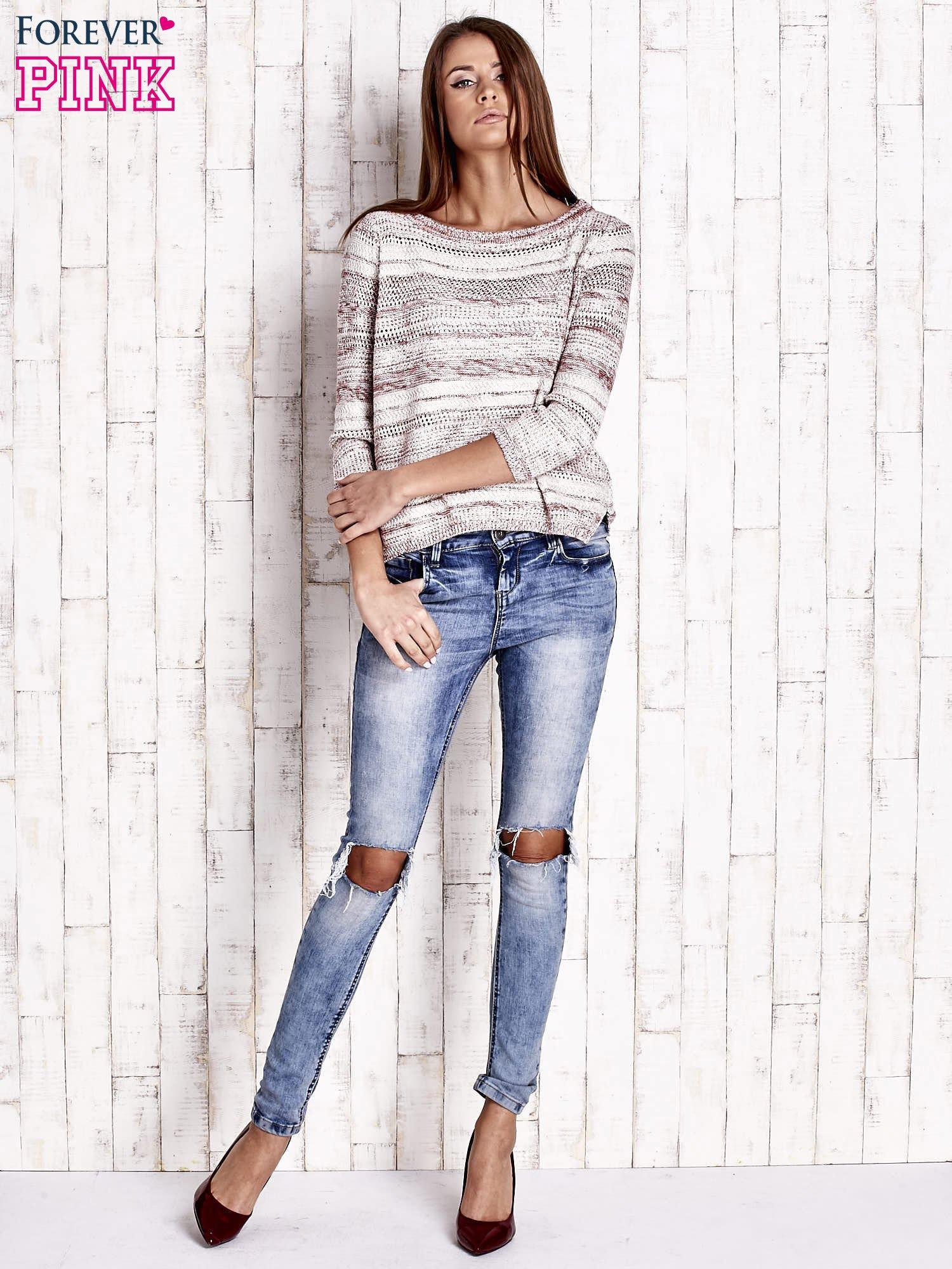 Czerwony dziergany sweter z rękawem 3/4                                  zdj.                                  2