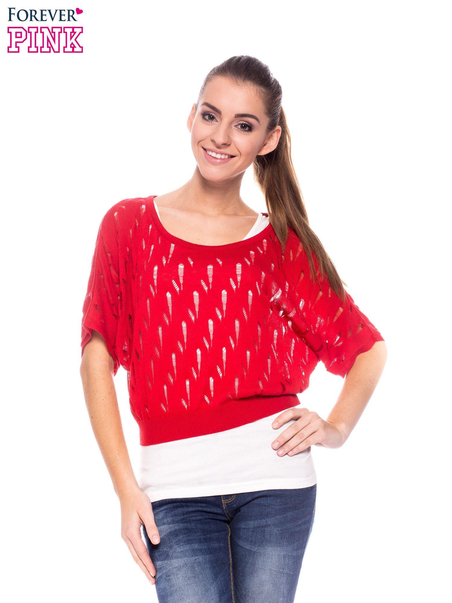 Czerwony krótki ażurowy sweterek                                  zdj.                                  1