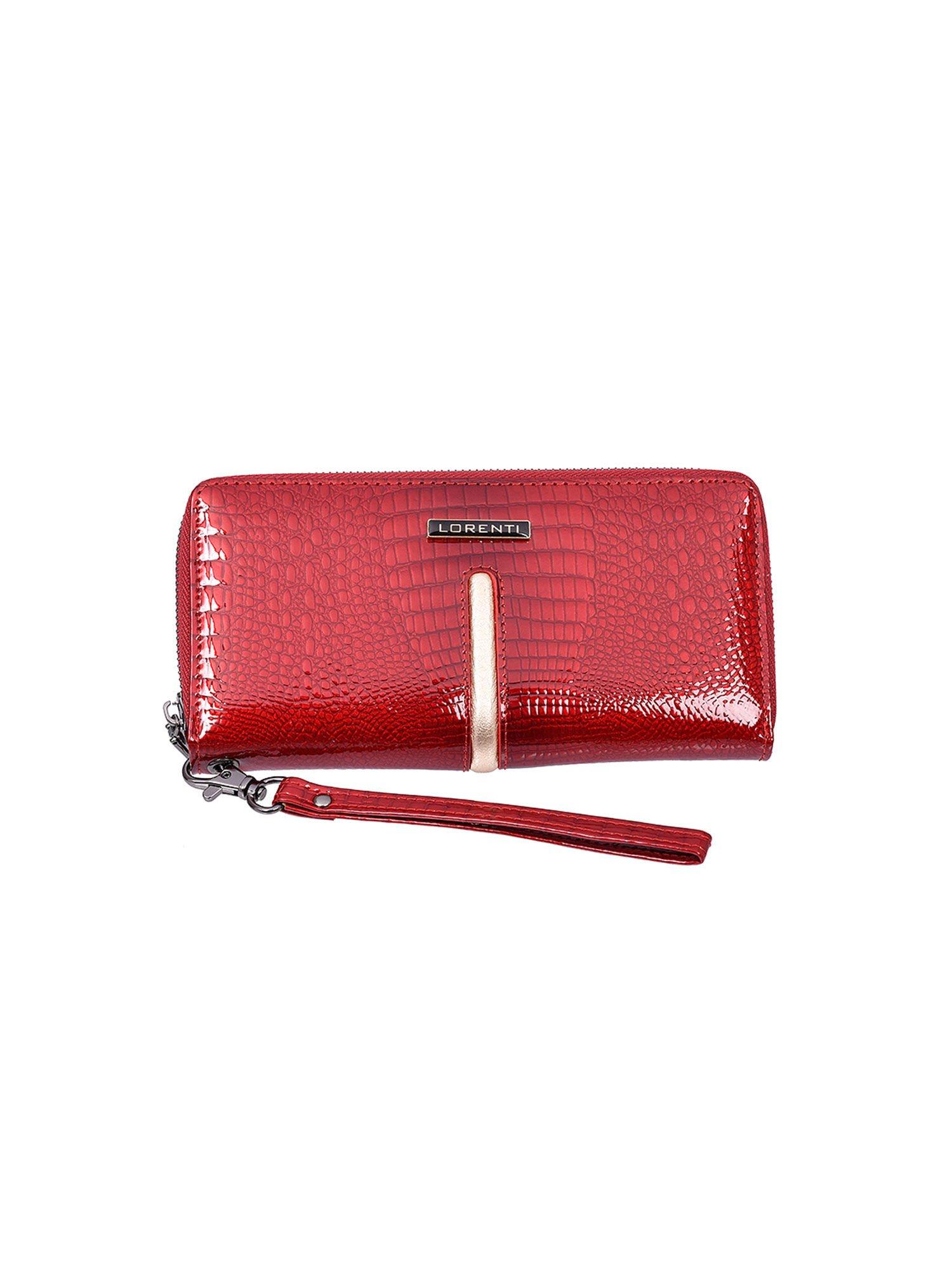 00159eb6212cb Czerwony lakierowany damski portfel skórzany - Akcesoria portfele ...