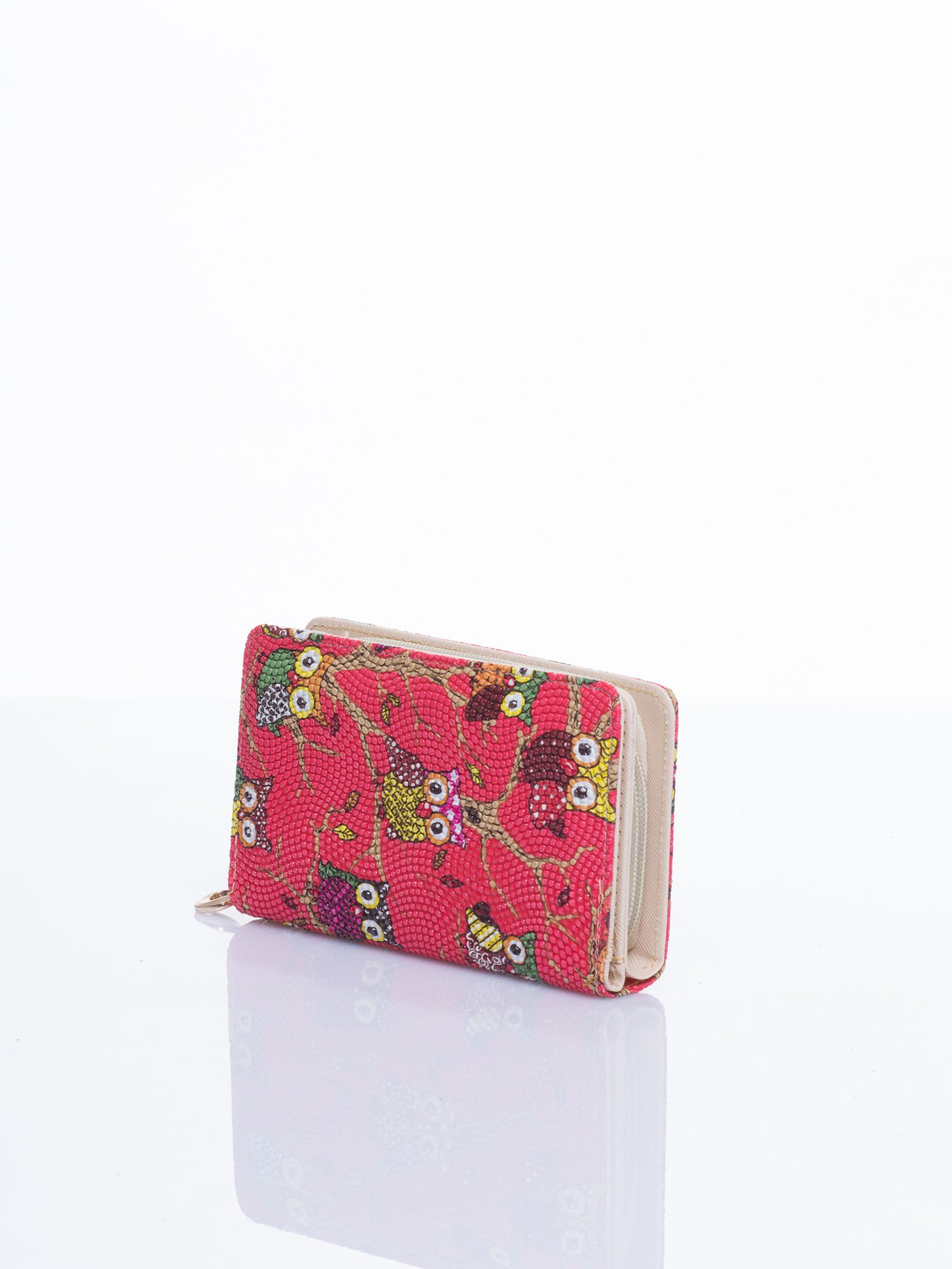 Czerwony mini portfel w sówki                                  zdj.                                  2