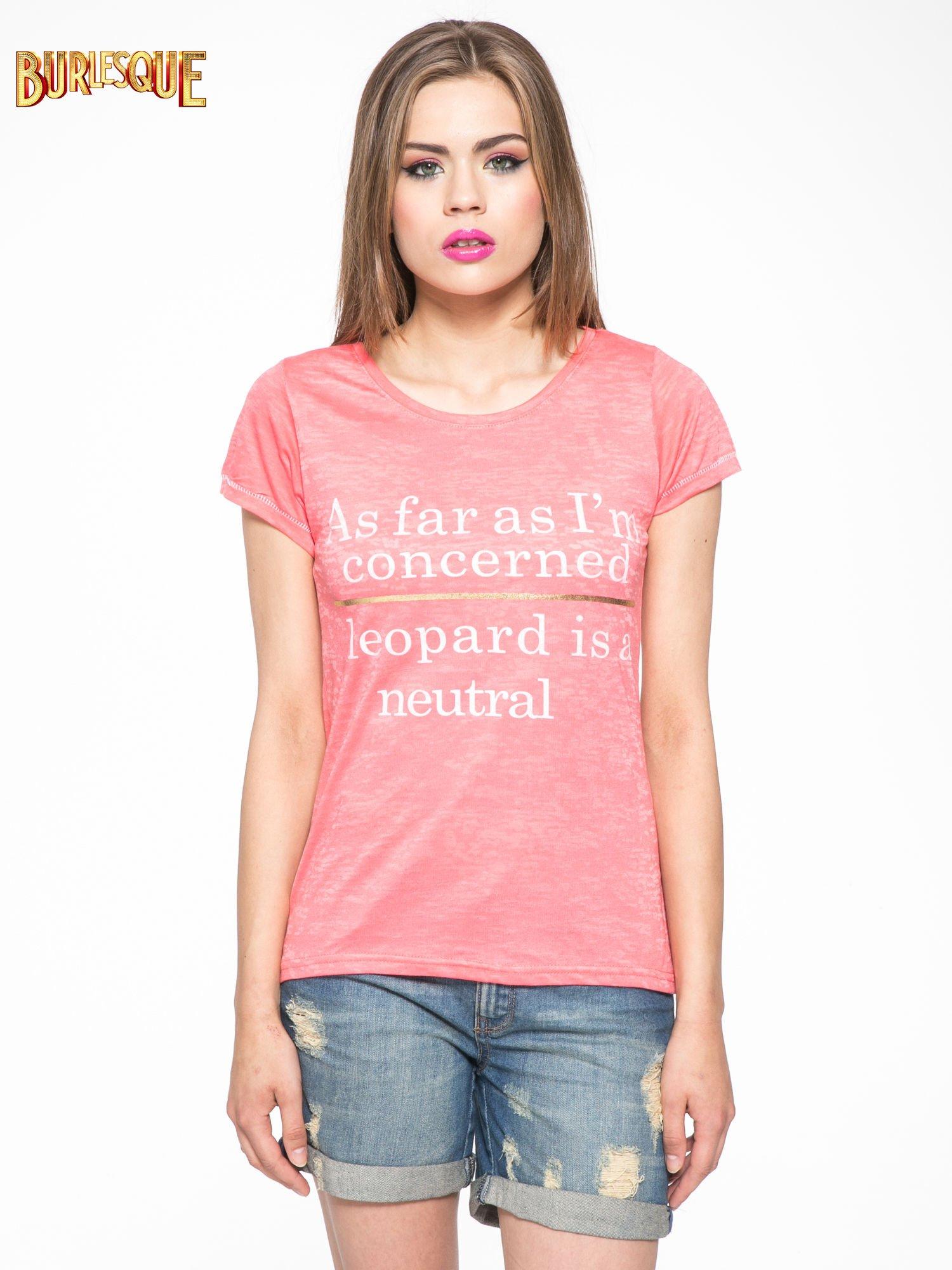 Czerwony półtransparentny t-shirt z napisem                                  zdj.                                  11