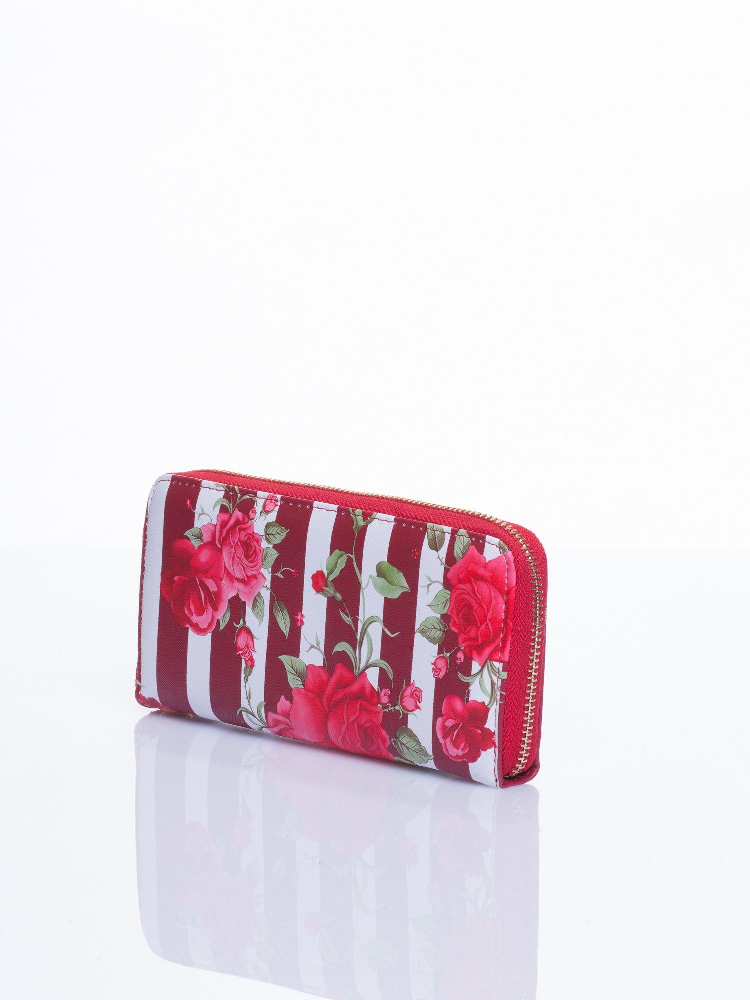 Czerwony portfel w kwiaty efekt saffiano                                  zdj.                                  2