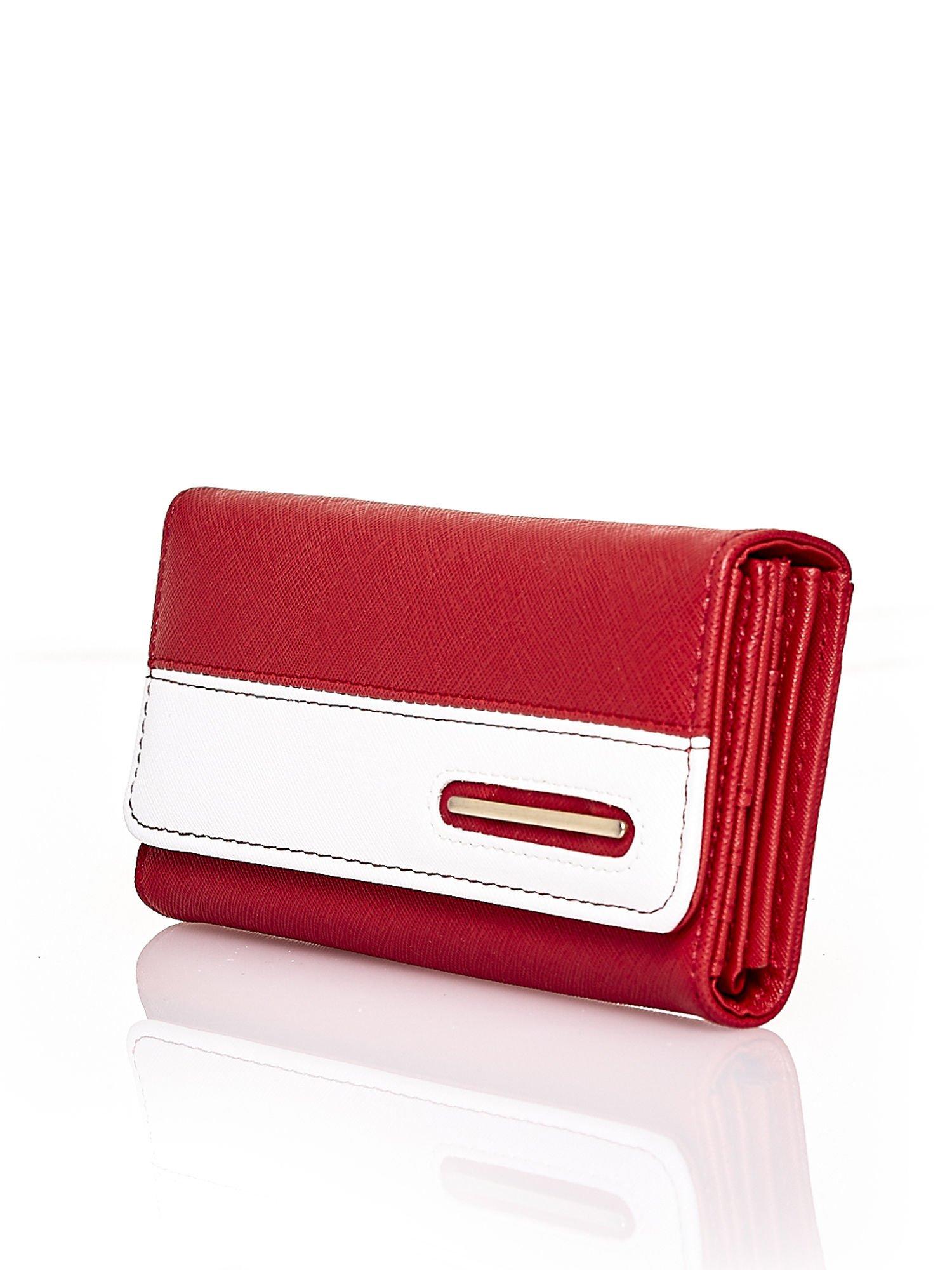 Czerwony portfel z białym wykończeniem                                  zdj.                                  3