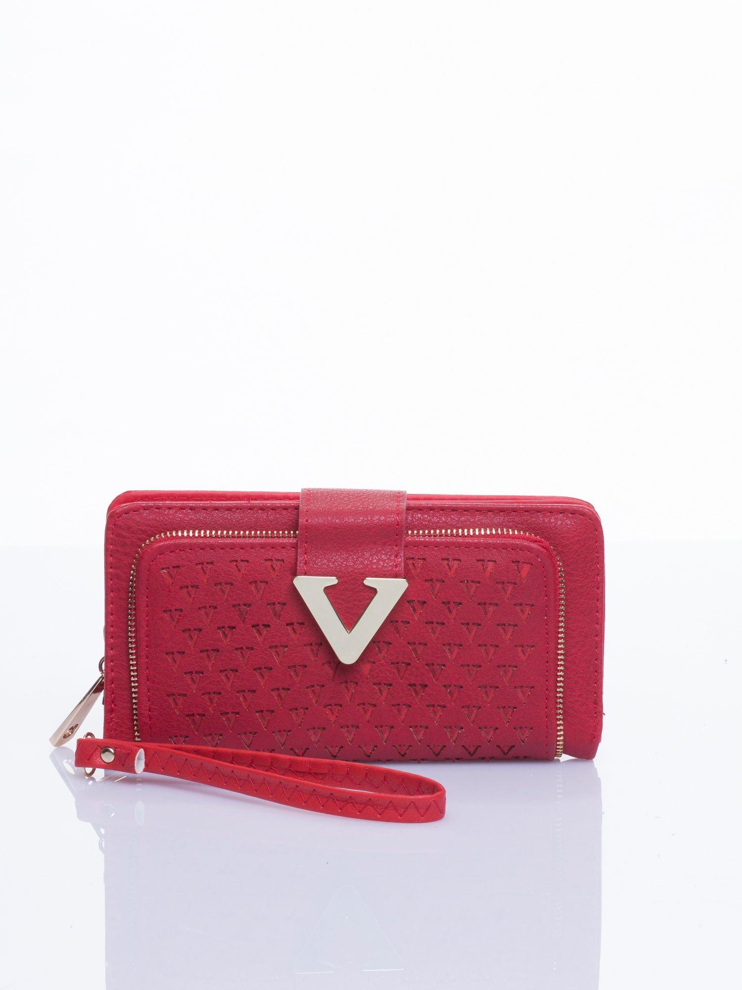 Czerwony portfel ze złotym detalem V                                  zdj.                                  1