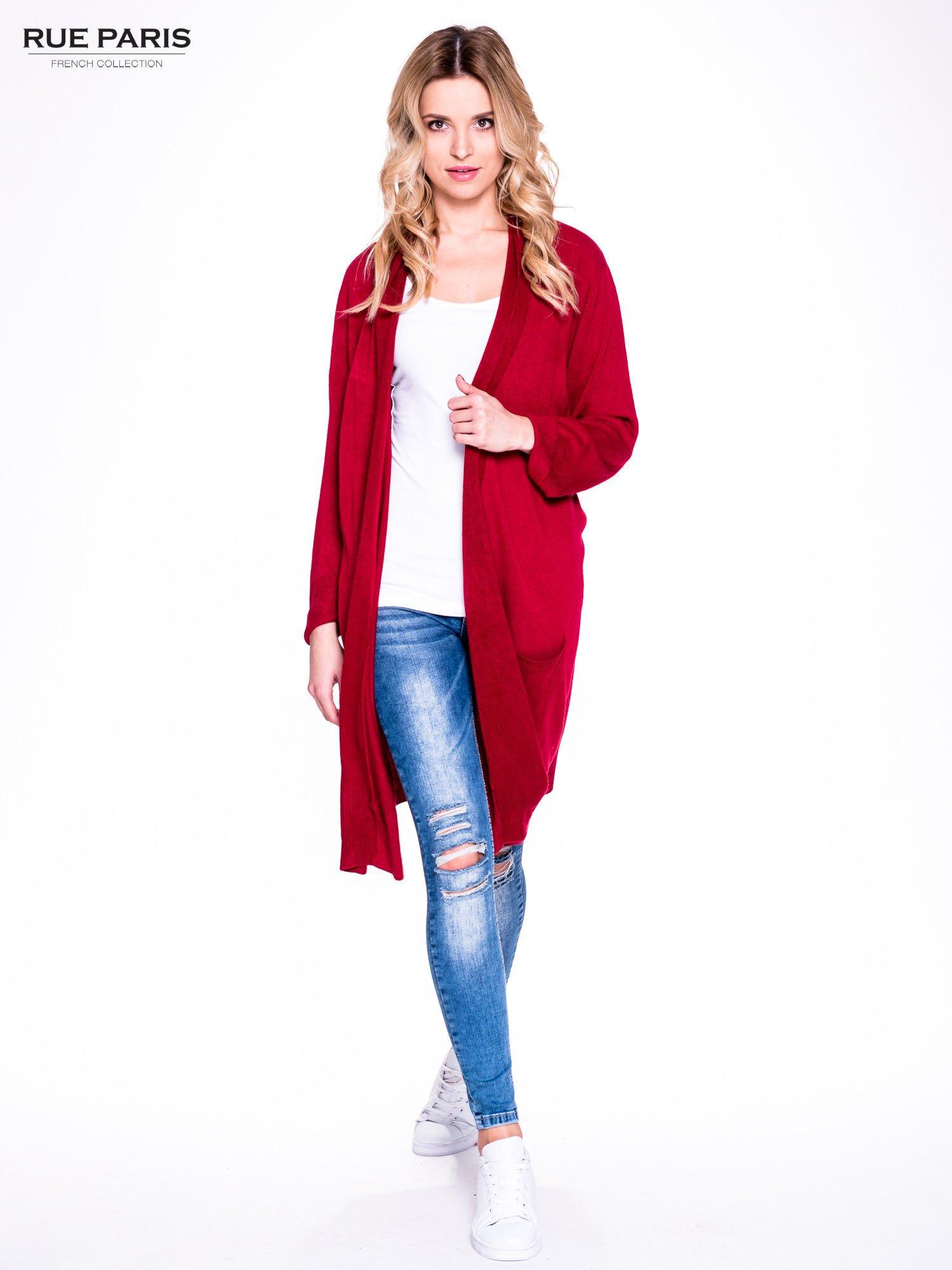 Czerwony sweter długi kardigan z kieszeniami                                  zdj.                                  2