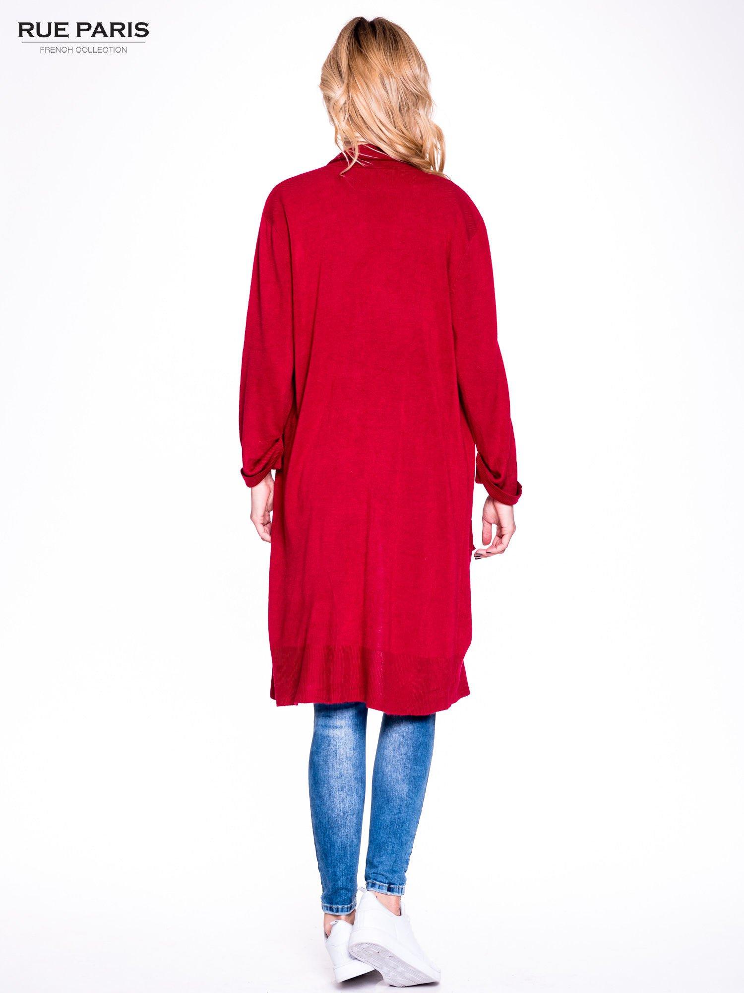 Czerwony sweter długi kardigan z kieszeniami                                  zdj.                                  3