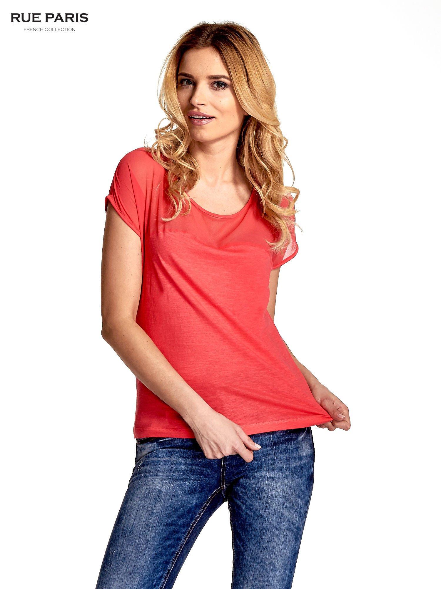 Czerwony t-shirt z górą mgiełką                                  zdj.                                  1