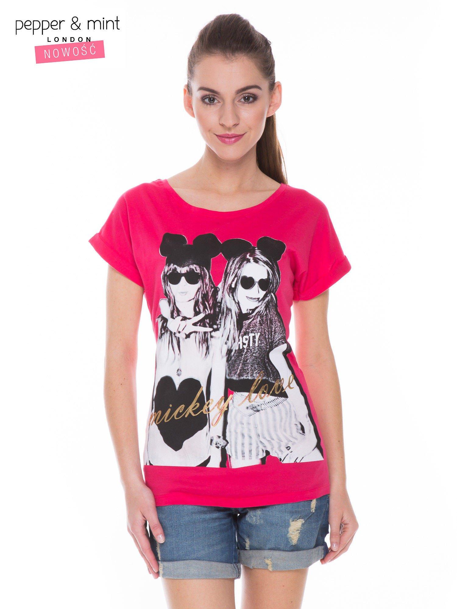 Czerwony t-shirt z nadrukiem inspirowanym Mickey Mouse                                  zdj.                                  1