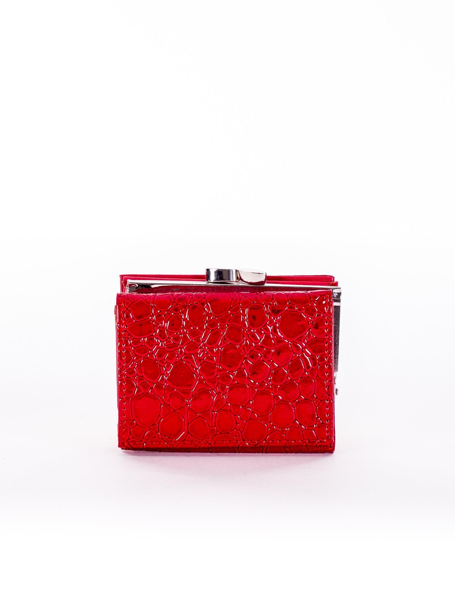 ed1cff75e Czerwony tłoczony portfel ze skóry ekologicznej - Akcesoria portfele ...