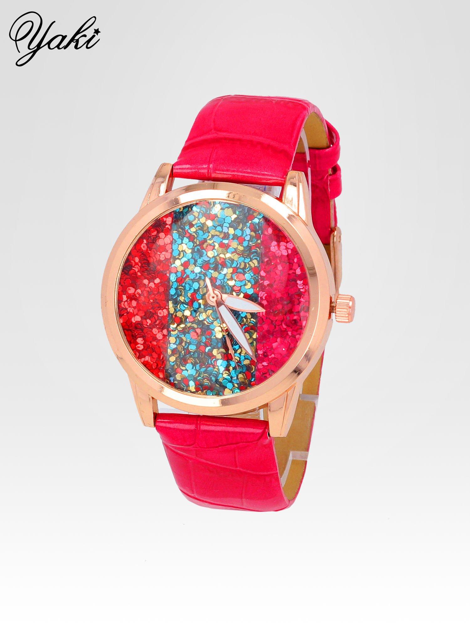 Czerwony zegarek damski na pasku z tarczą glitter                                  zdj.                                  2