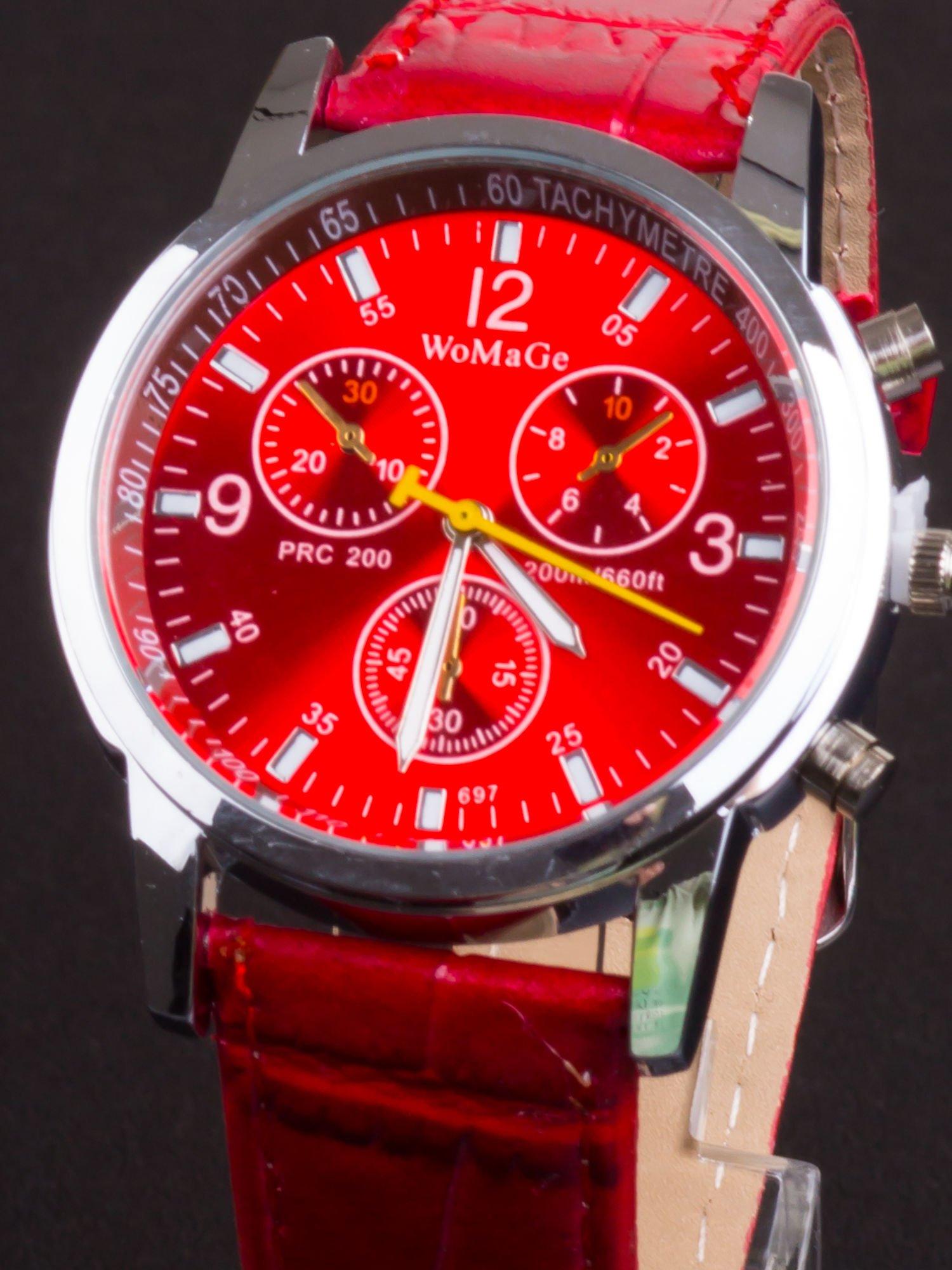 Czerwony zegarek damski z ozdobnym tachometrem                                  zdj.                                  1