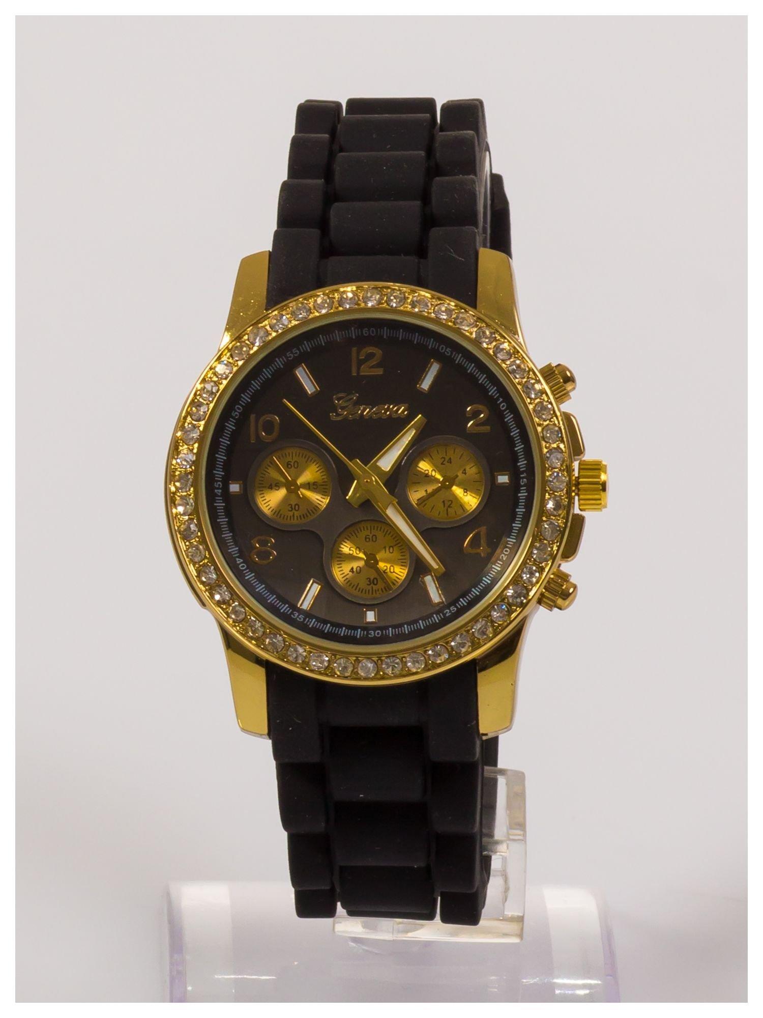 Damski zegarek z cyrkoniami i ozdobnym chronografem na wygodnym silikonowym pasku                                  zdj.                                  1