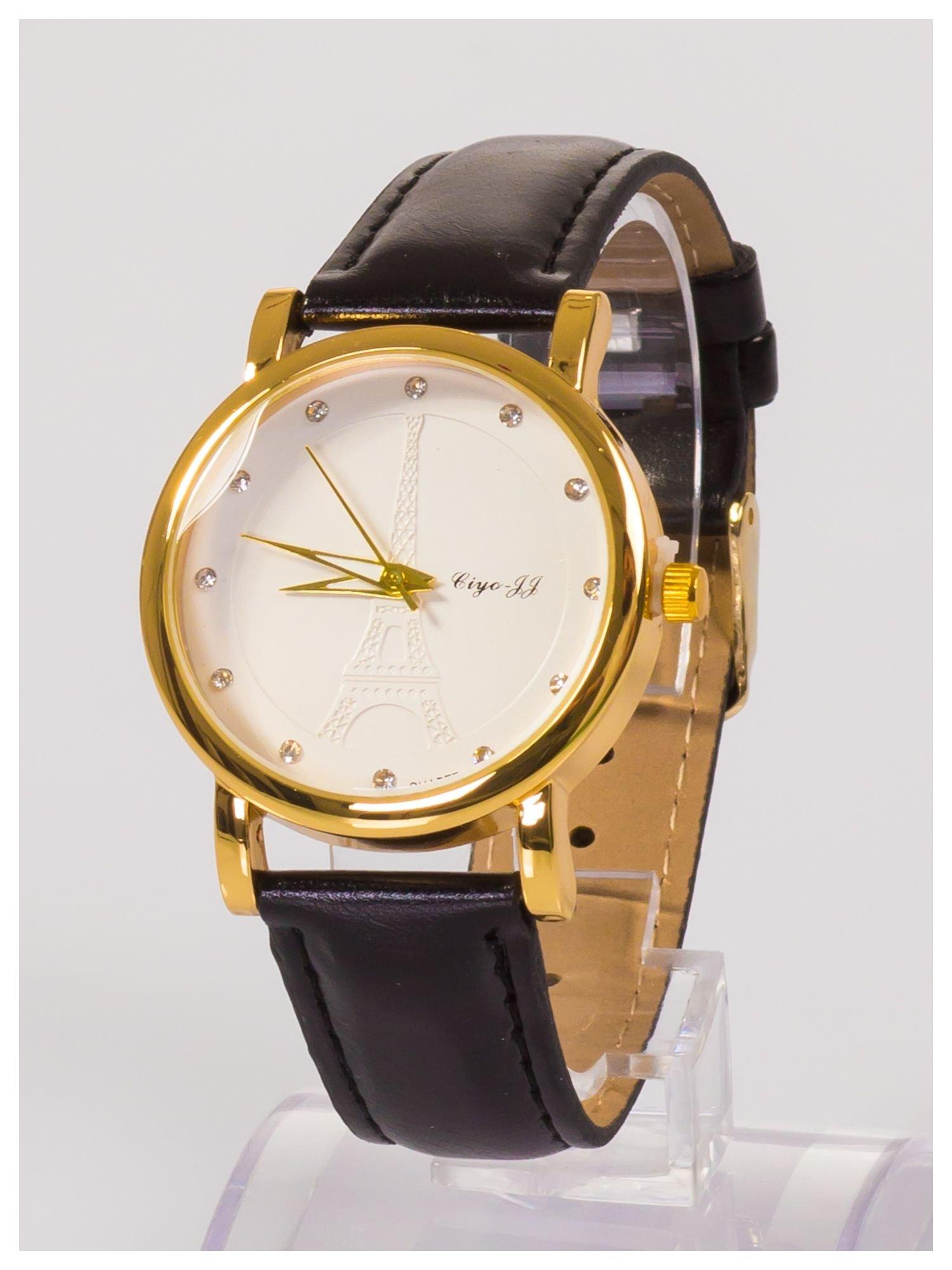 Damski zegarek z cyrkoniami z motywem wieży Eiffla na tarczy                                  zdj.                                  3