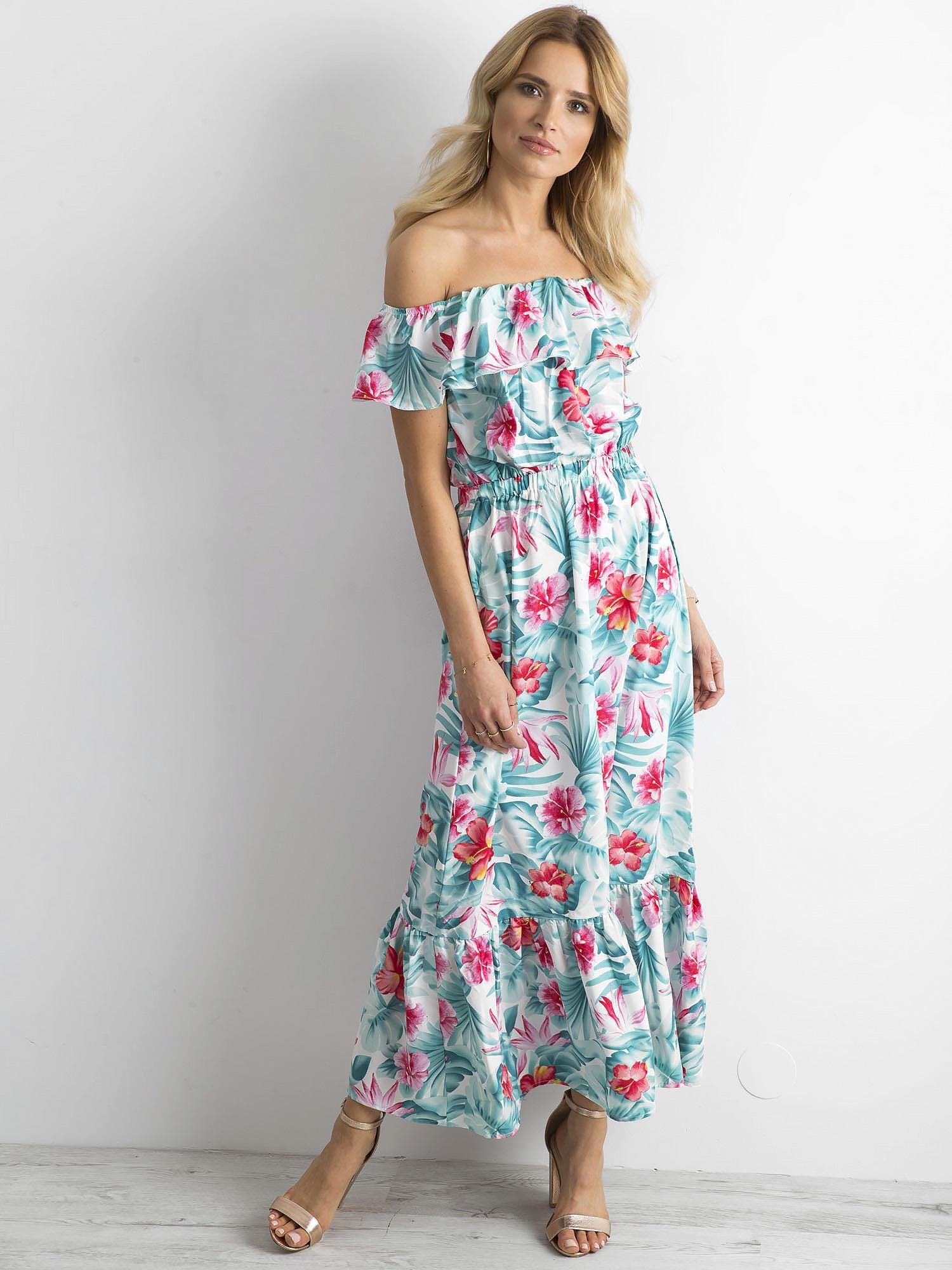 7c27cdf776 Długa sukienka w kwiaty miętowo-różowa - Sukienka hiszpanka - sklep ...
