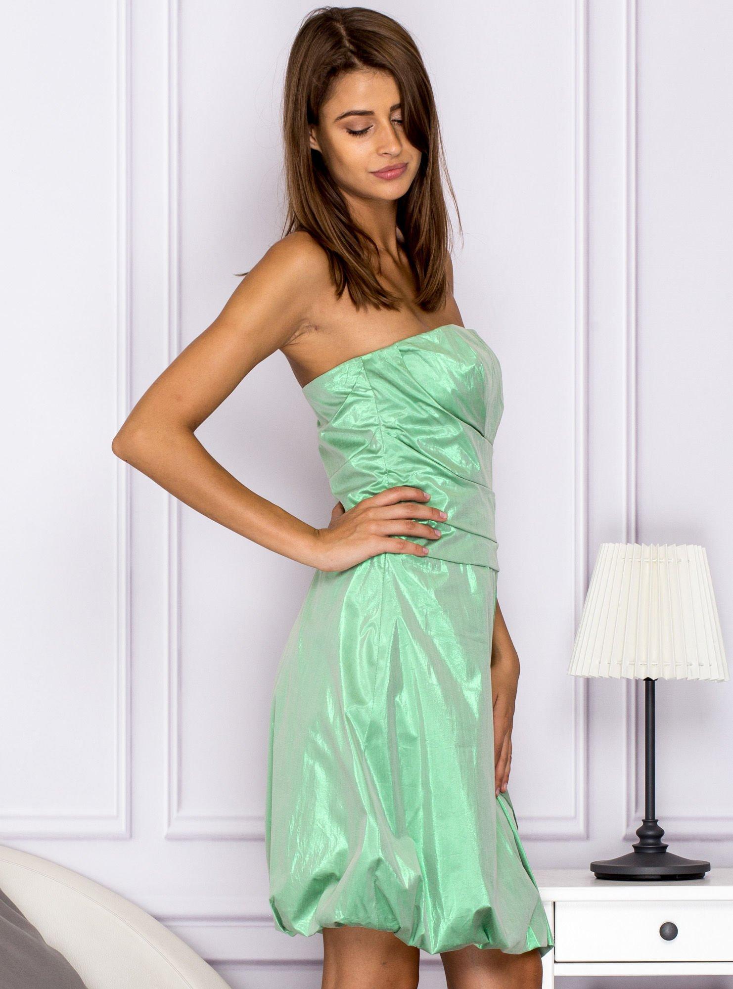 24cec09e0a Drapowana sukienka z metalicznym połyskiem różowa - Sukienka koktajlowa -  sklep eButik.pl