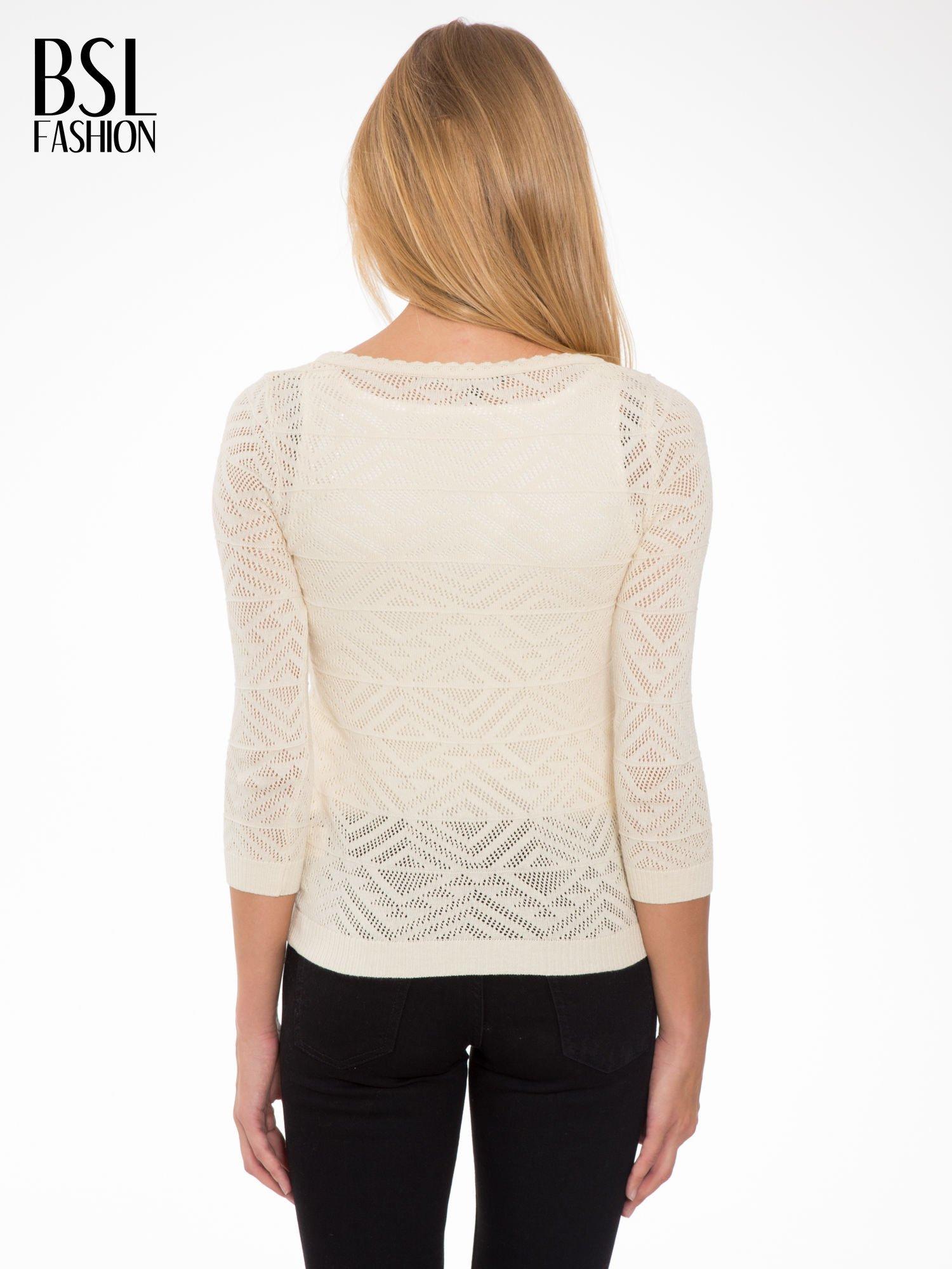 Ecru ażurowy sweter kardigan na guziki                                  zdj.                                  4