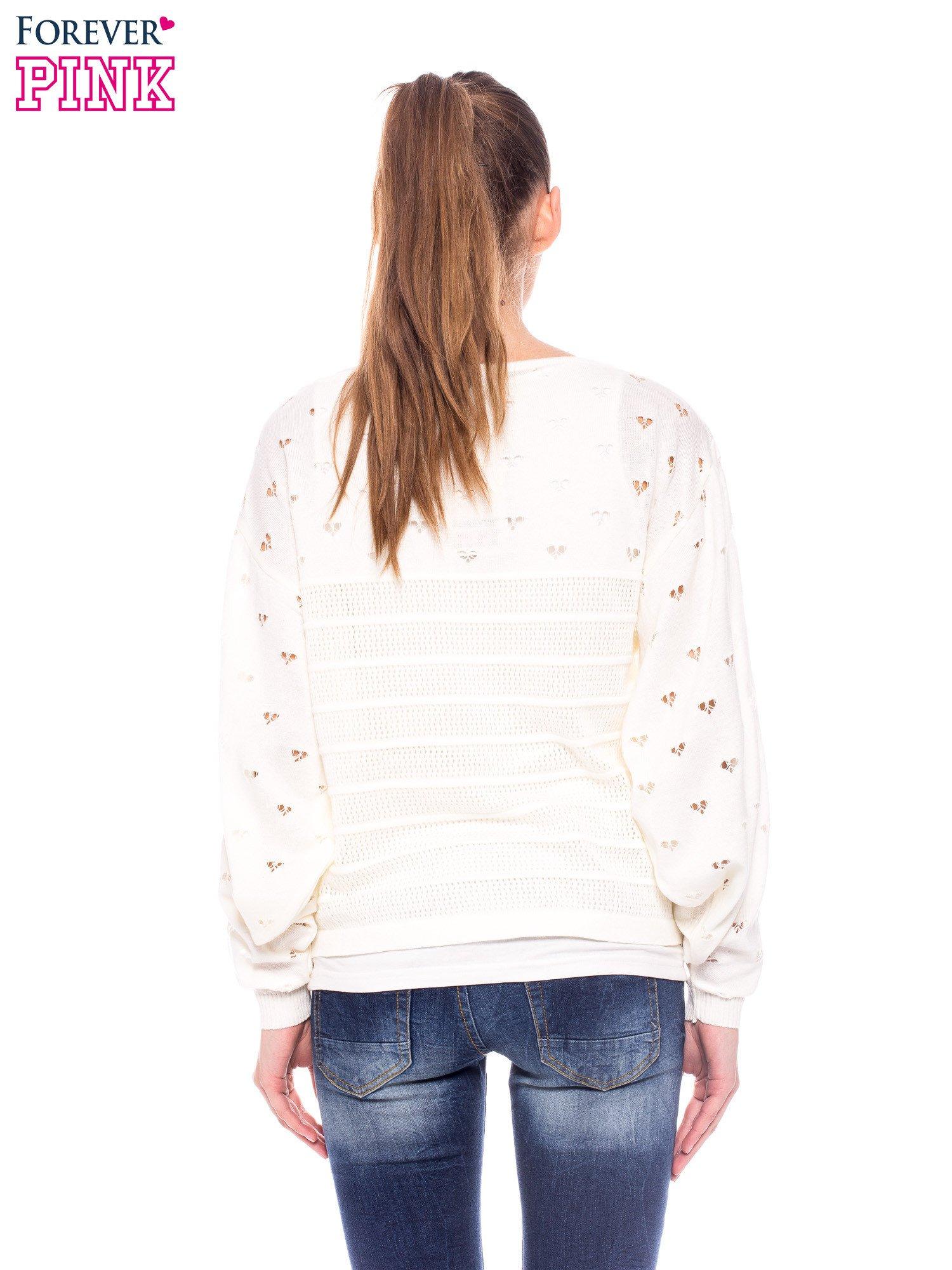 Ecru ażurowy sweter w serduszka                                  zdj.                                  4