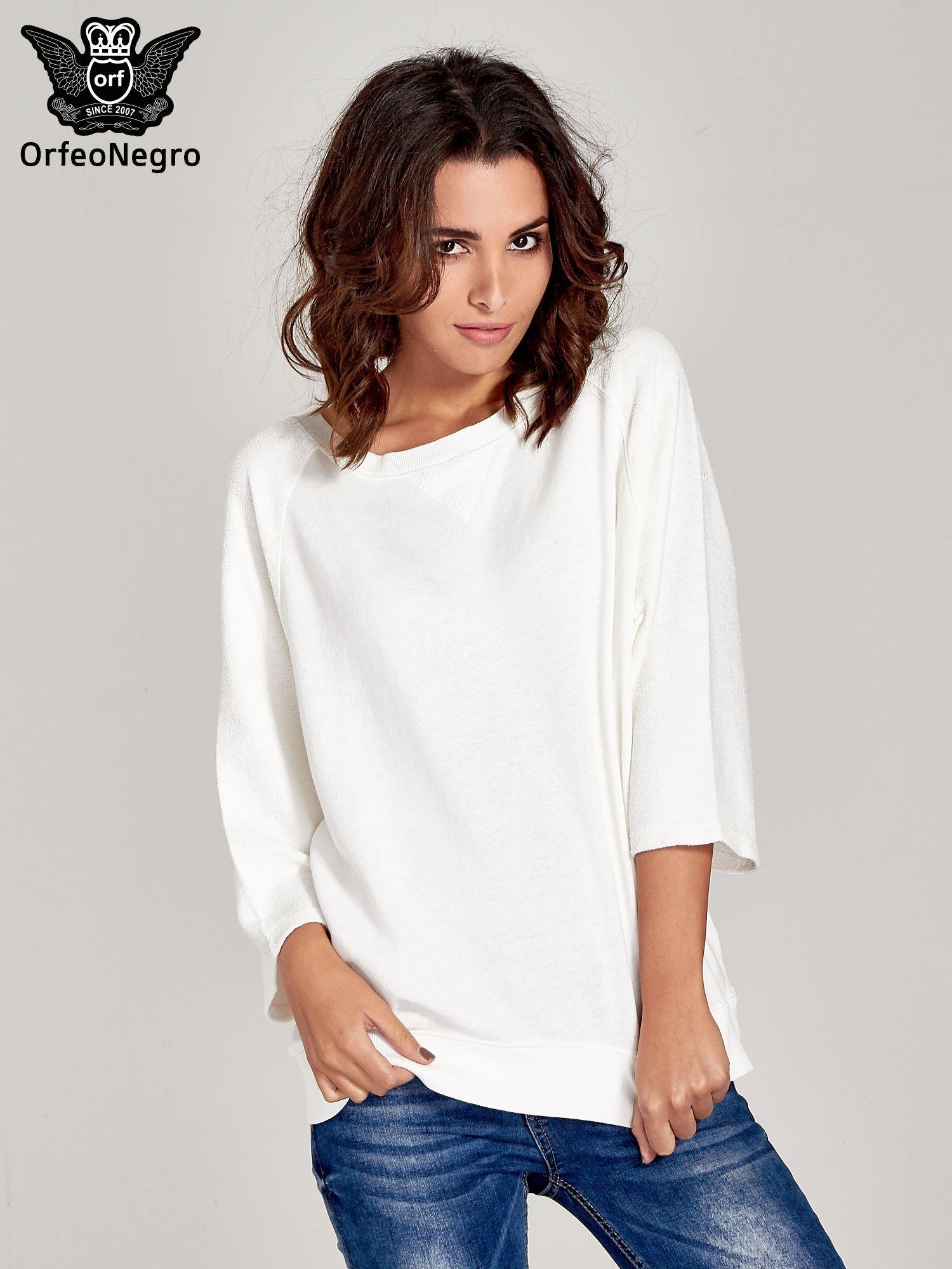Ecru bluza oversize z łączonych materiałów                                  zdj.                                  1