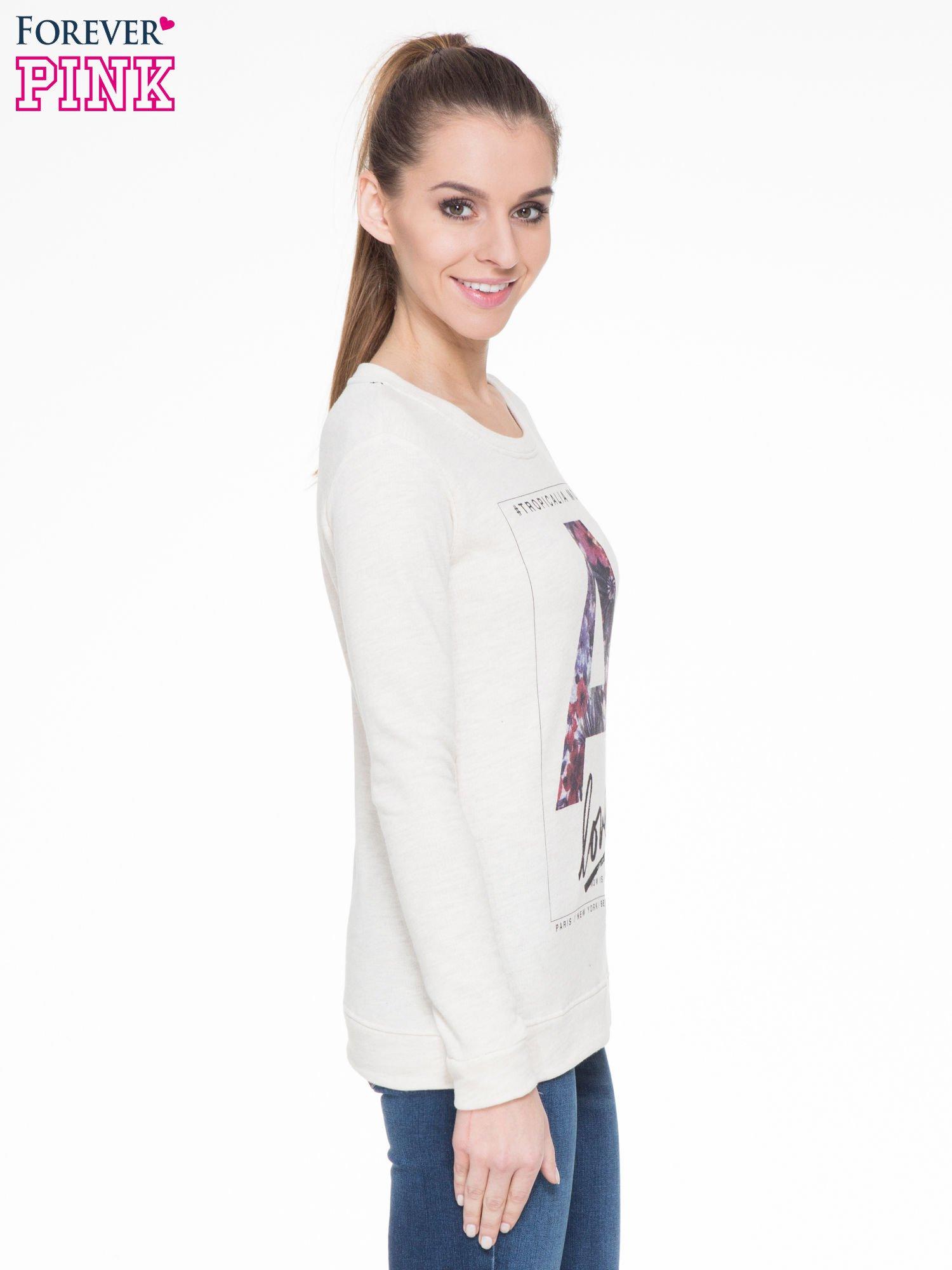 Ecru bluza z nadrukiem litery A z motywem kwiatowym                                  zdj.                                  3
