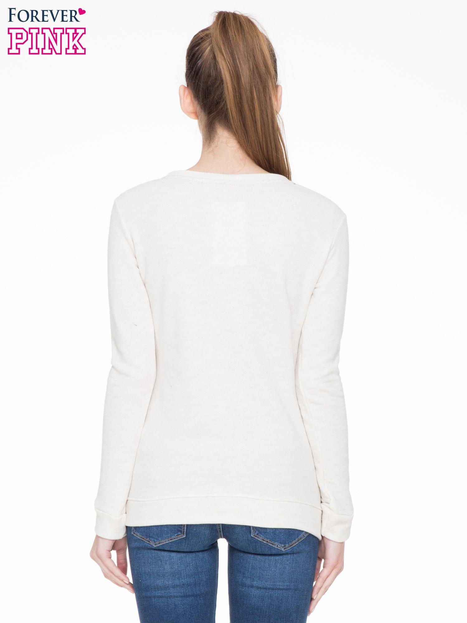 Ecru bluza z nadrukiem litery A z motywem kwiatowym                                  zdj.                                  4