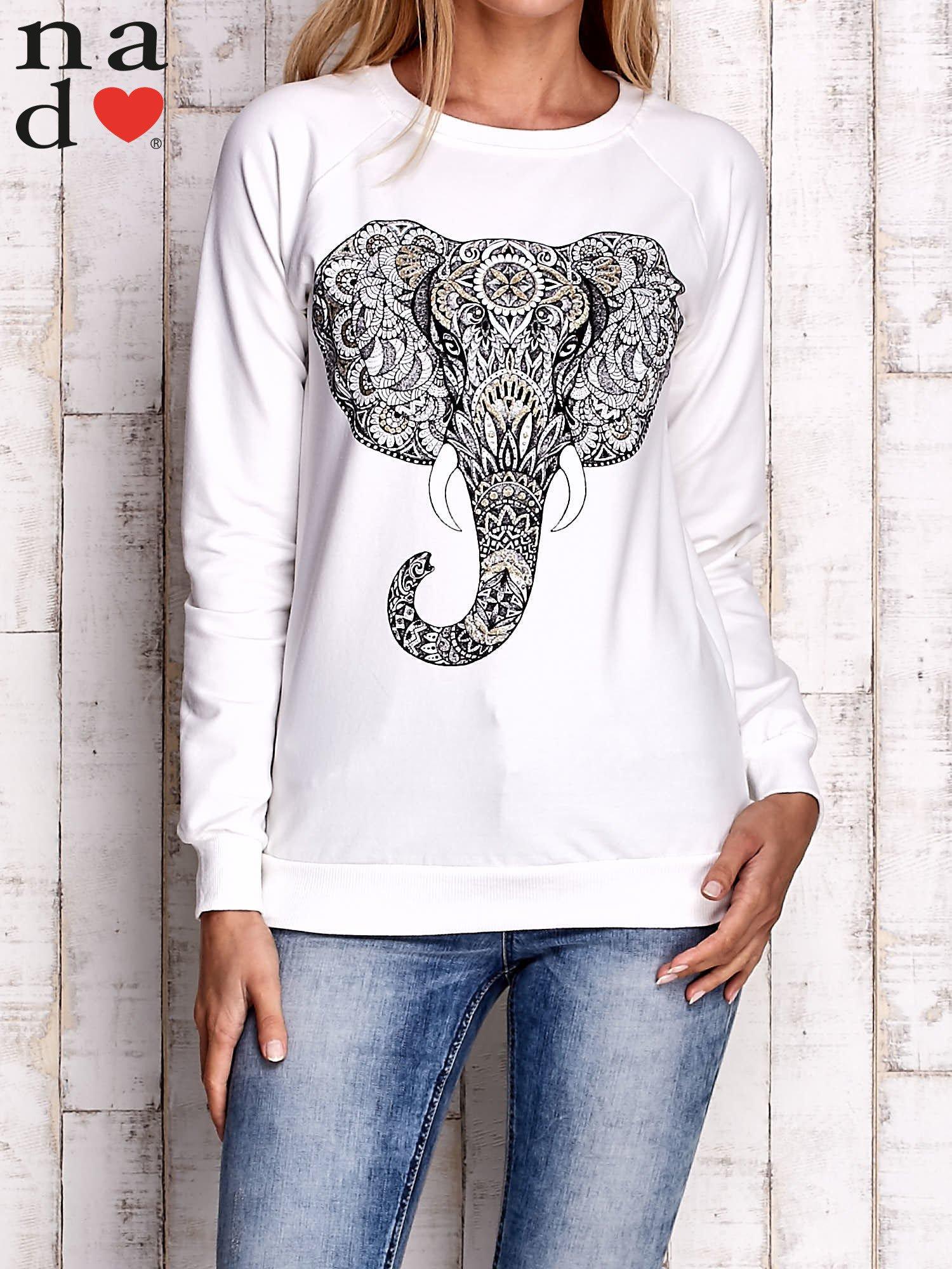 Ecru bluza z nadrukiem słonia                                  zdj.                                  1